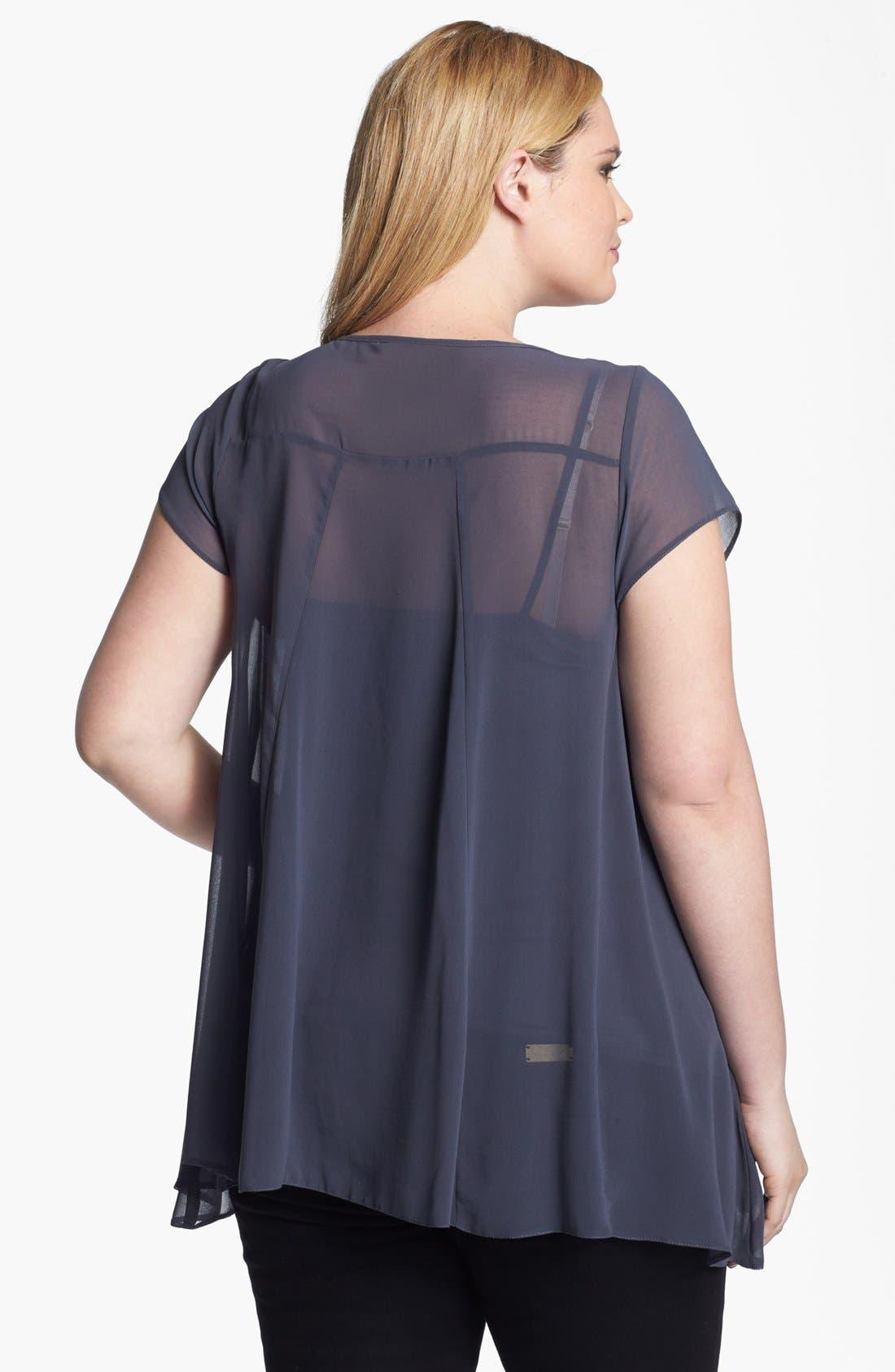 Alternate Image 2  - Evans Embellished Chiffon Top (Plus Size)