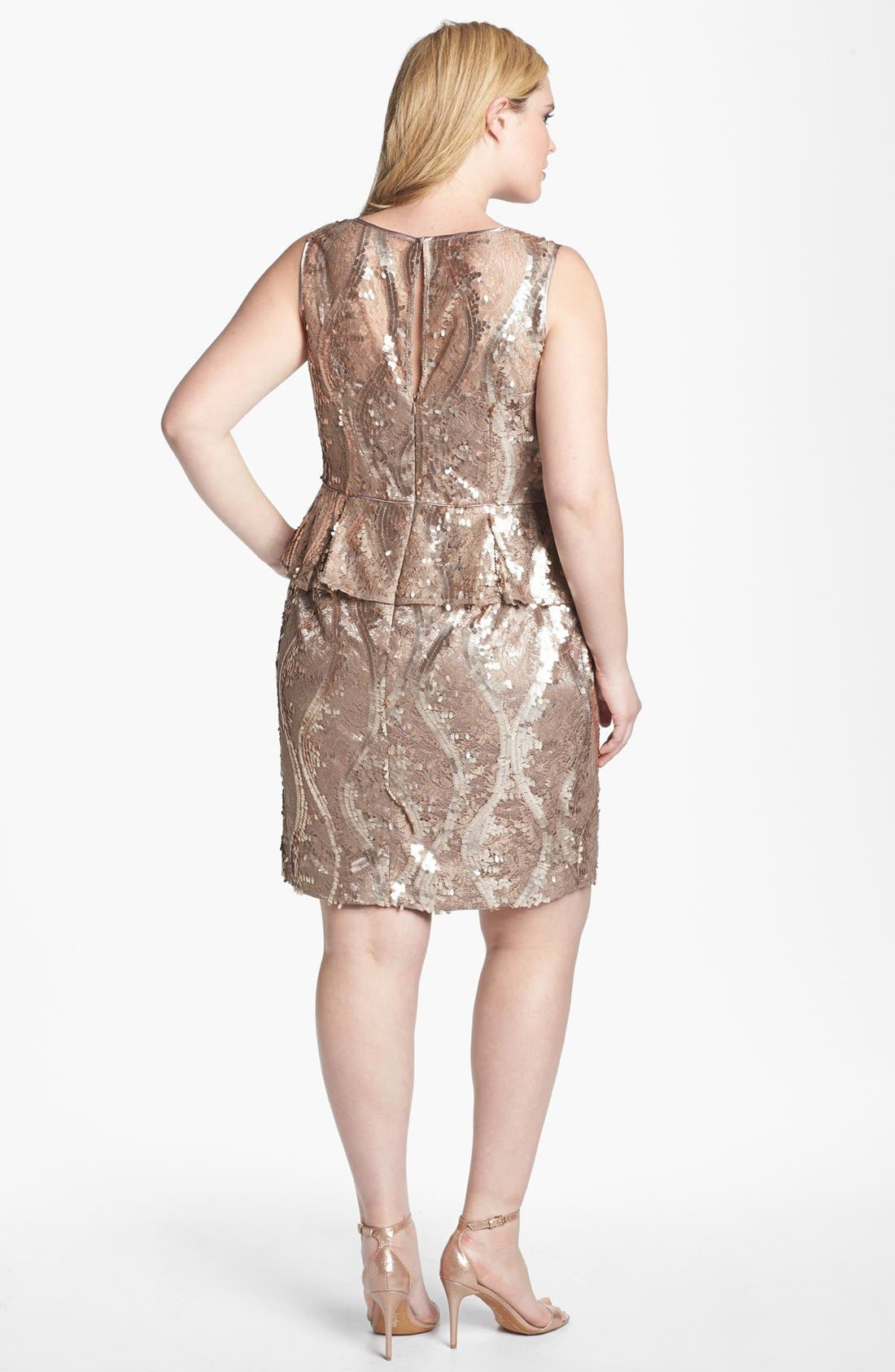 Alternate Image 2  - Adrianna Papell Sequin & Lace Peplum Dress (Plus Size)