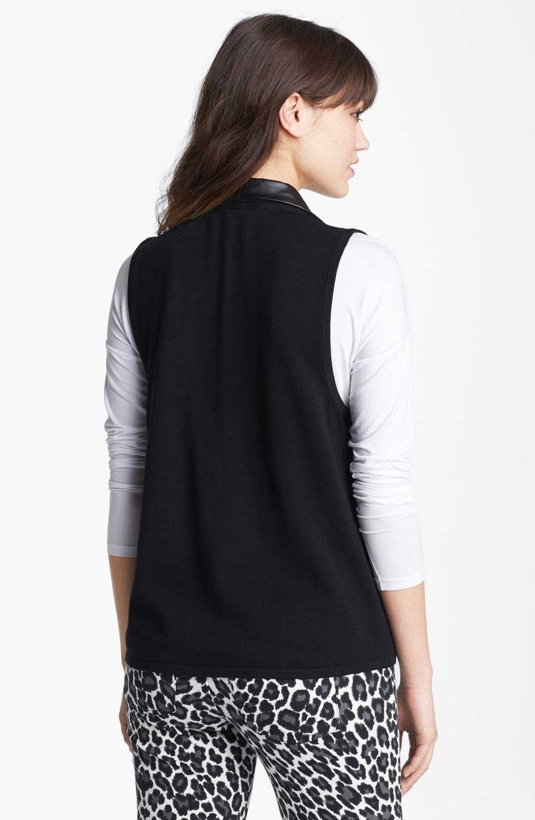 Alternate Image 2  - Nordstrom Quilted Faux Leather Trim Vest