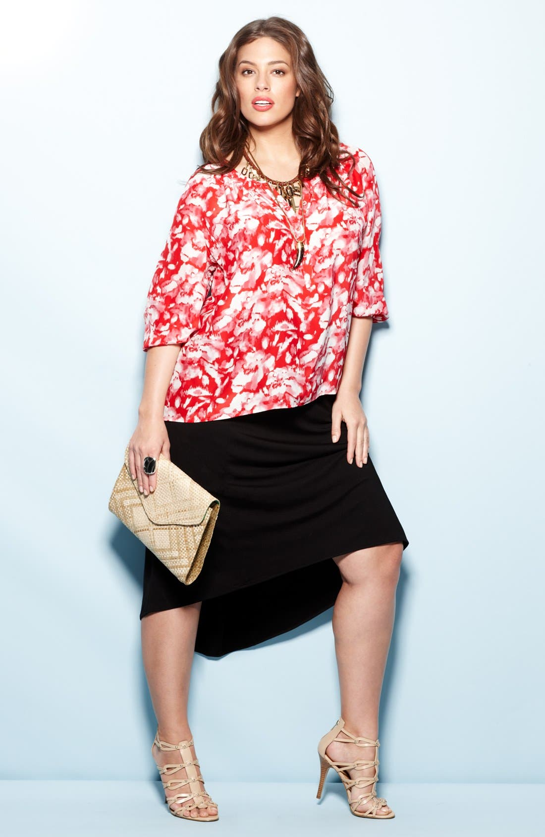Alternate Image 4  - Sejour Floral Print Smocked Top (Plus Size)