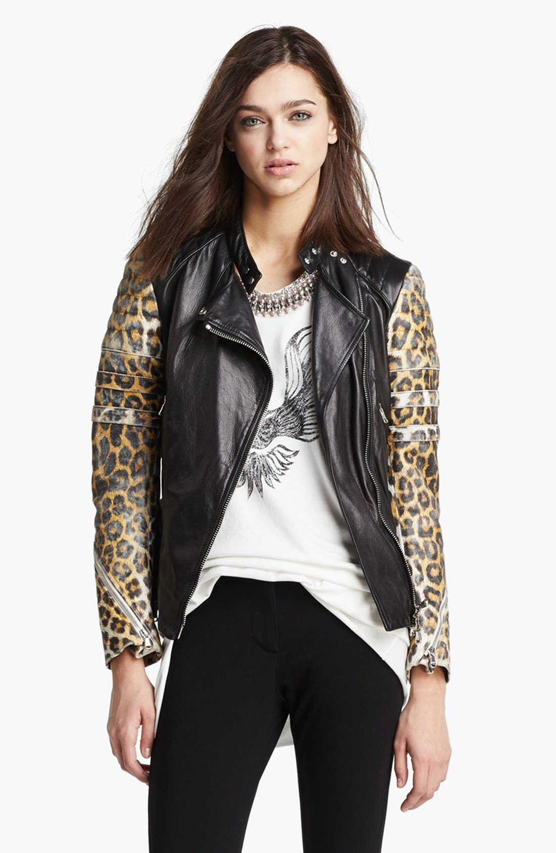 Main Image - 3.1 Phillip Lim Quilted Sleeve Leather Moto Jacket