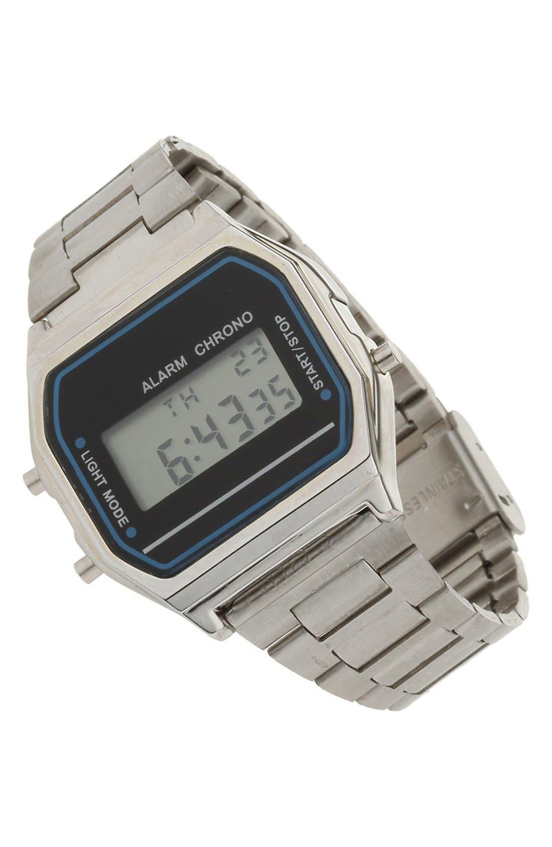 Digital Bracelet Watch, 30mm,                         Main,                         color, Silver