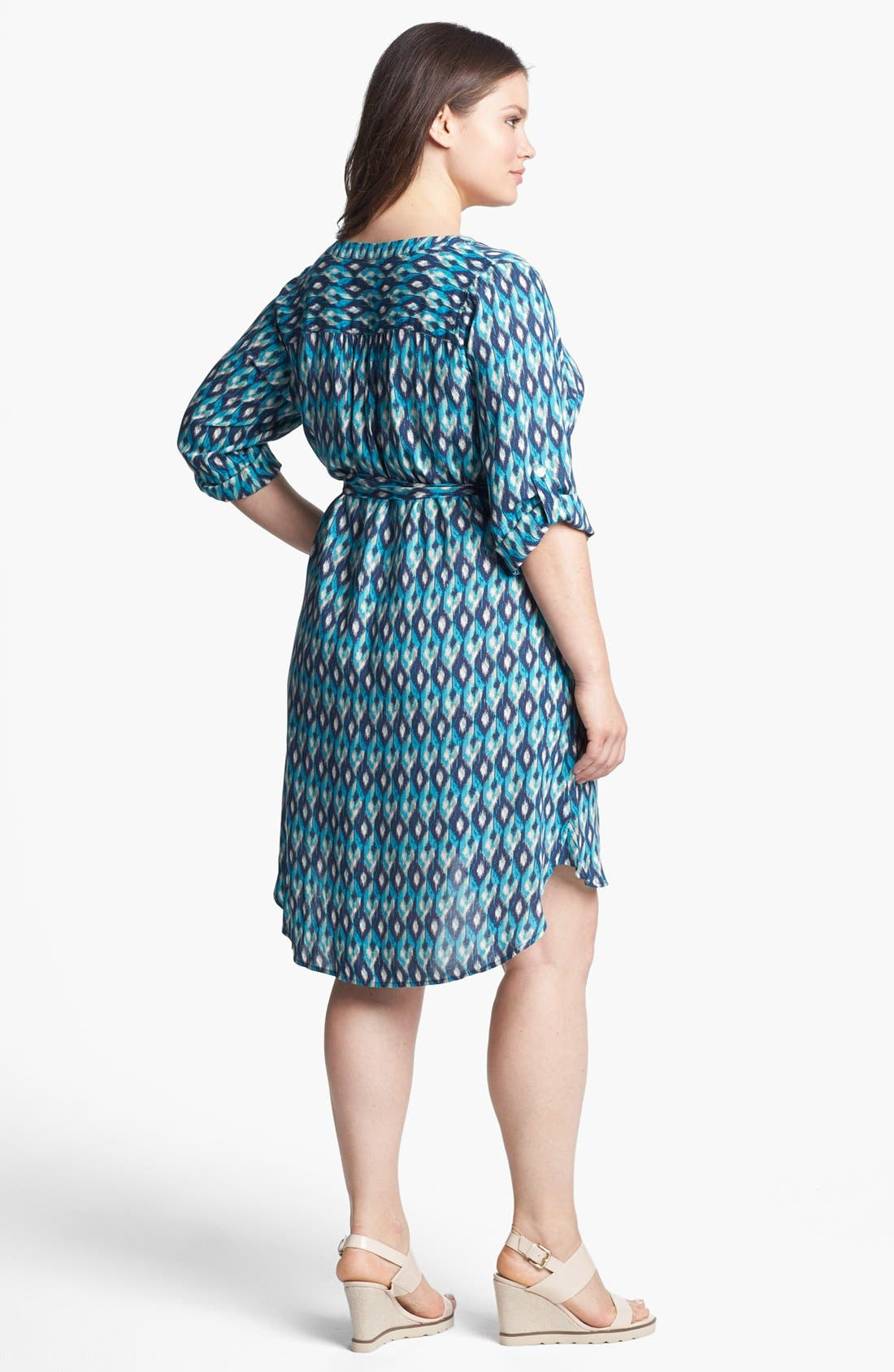 Alternate Image 2  - Lucky Brand 'Vailea' Print Shirtdress (Plus Size)