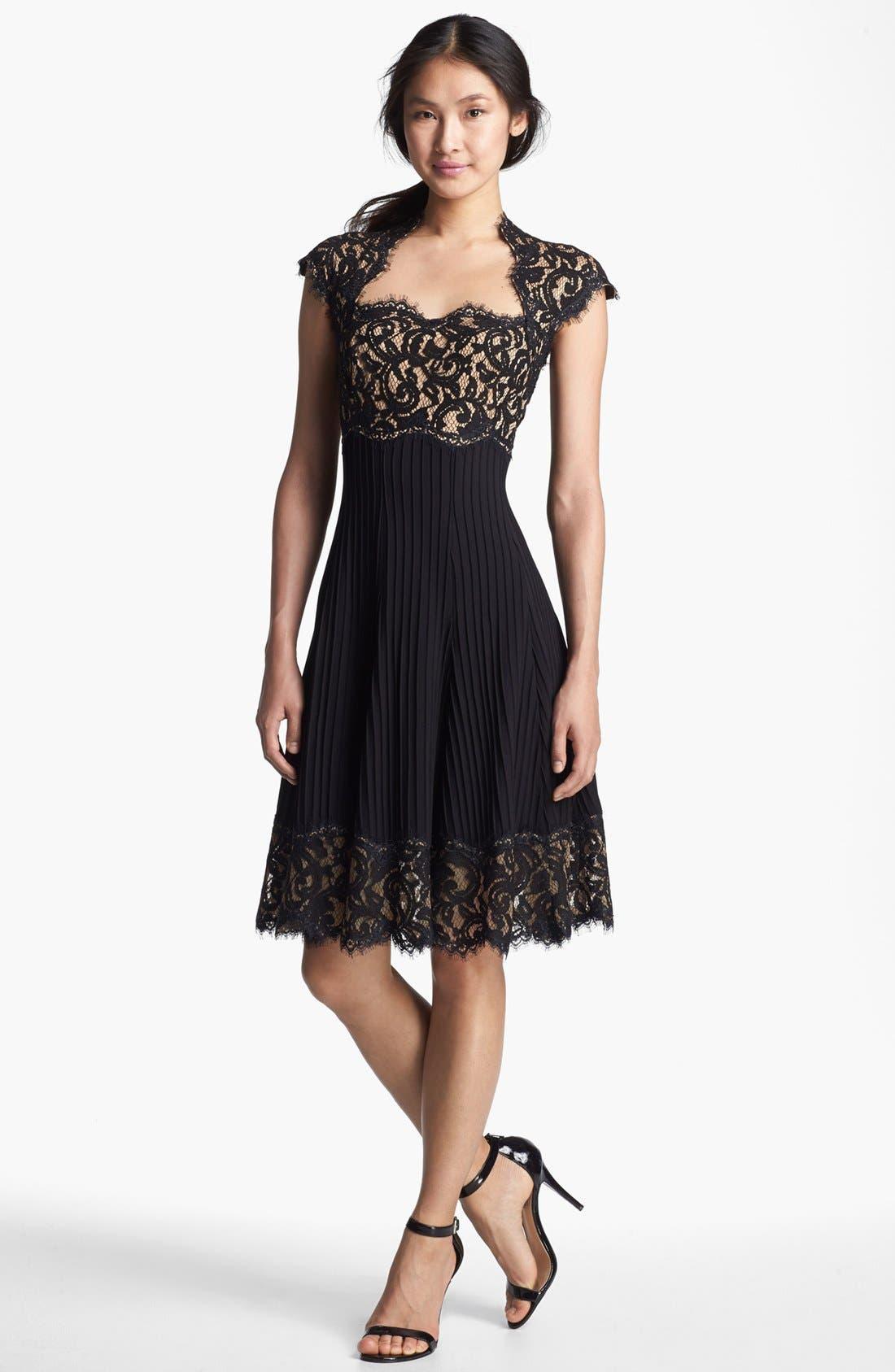 Alternate Image 1 Selected - Tadashi Shoji Mixed Media Fit & Flare Dress