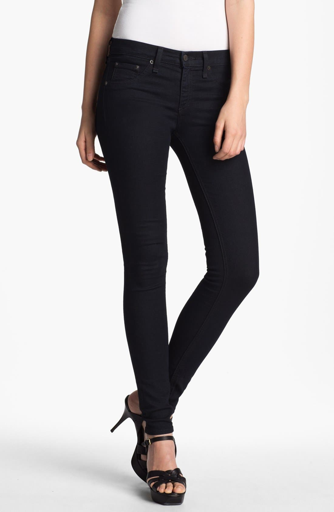 JEAN 'The Legging' Stretch Denim Leggings,                         Main,                         color, Midnight
