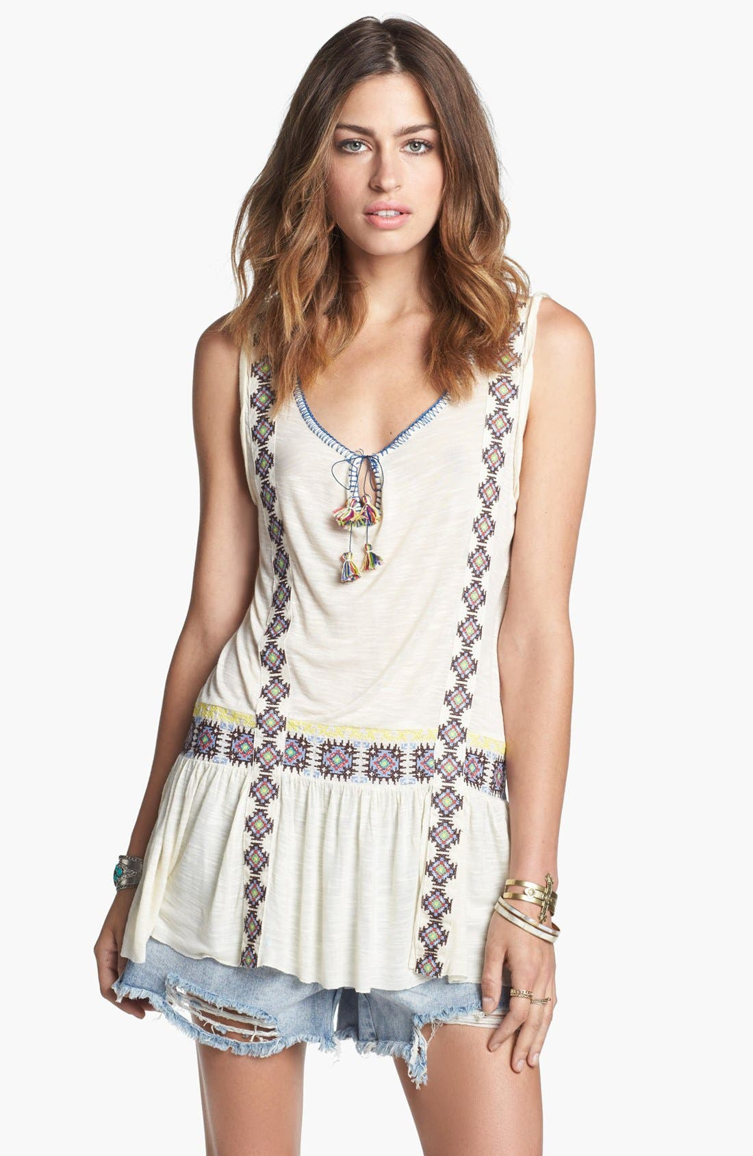 Main Image - Free People 'Moonlight Mile' Embroidered Tank