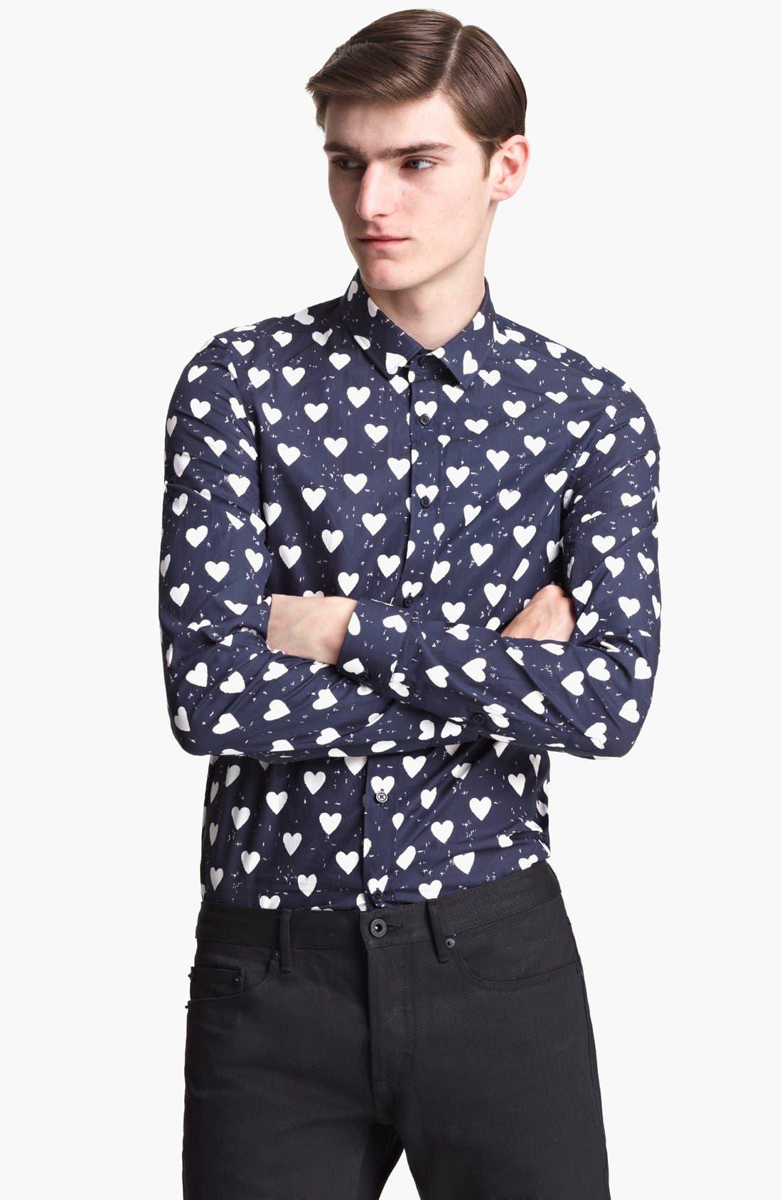 Alternate Image 1 Selected - Burberry Prorsum Heart Print Poplin Sport Shirt