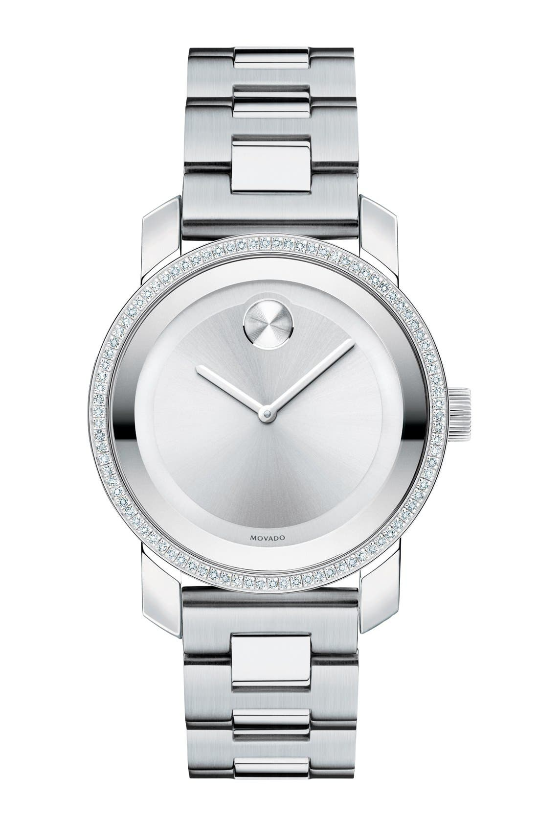 'Bold' Diamond Bezel Bracelet Watch, 36mm,                         Main,                         color, Silver