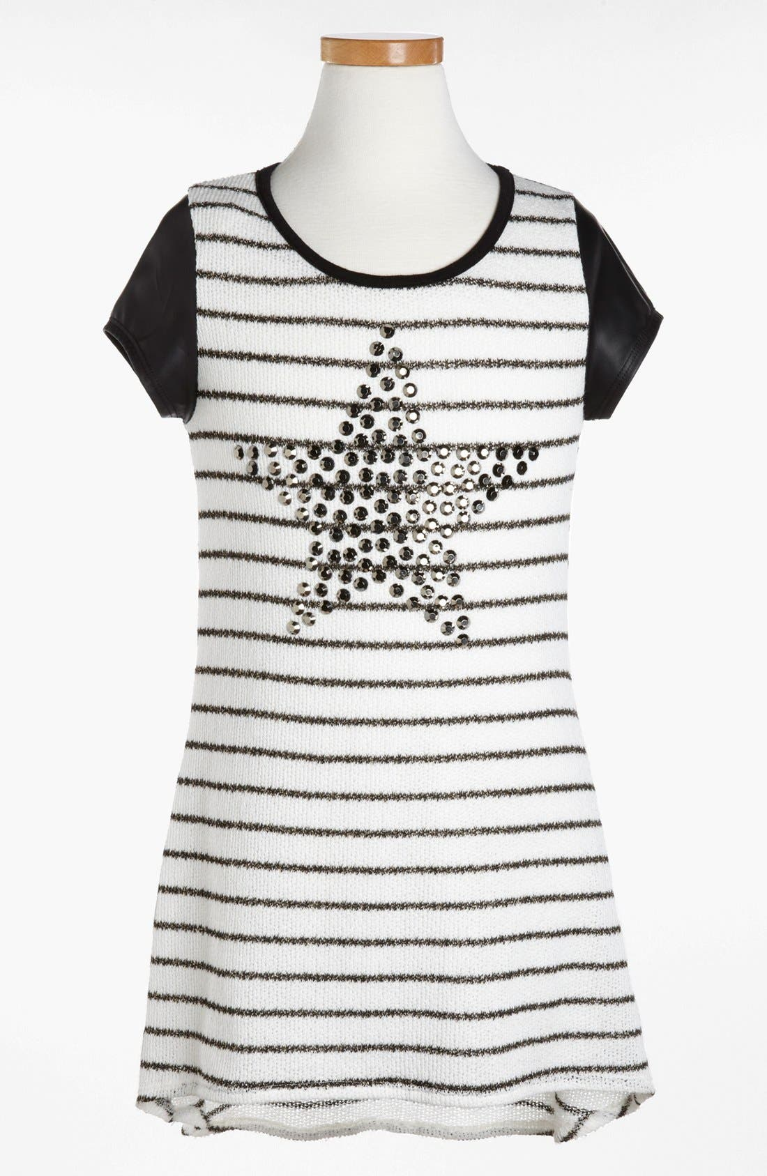 Main Image - Kiddo Stripe Studded Star Dress (Little Girls & Big Girls)