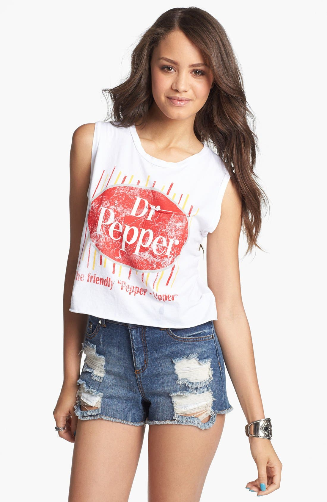 'Dr Pepper' Graphic Crop Tank,                             Main thumbnail 1, color,                             White