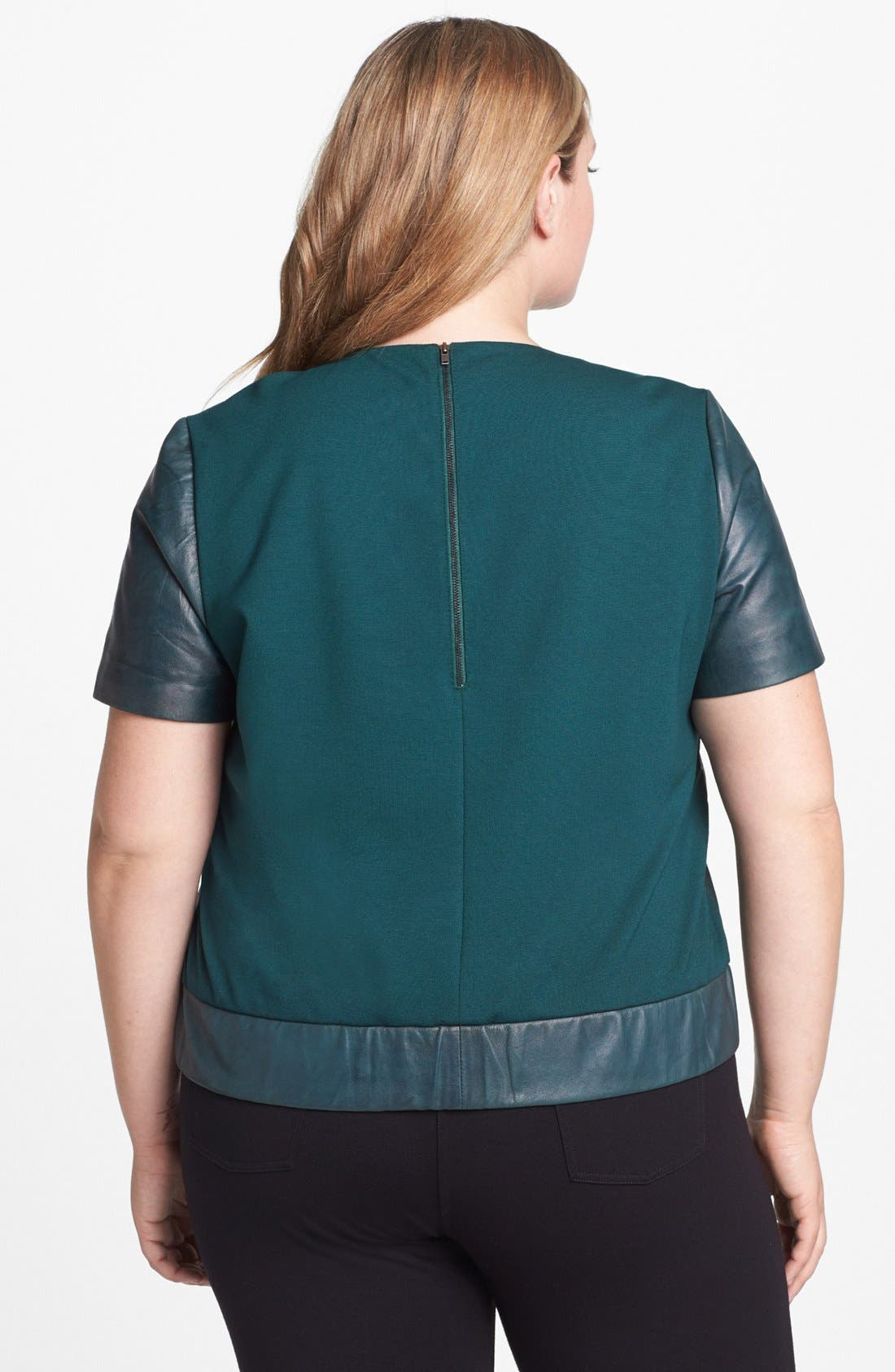 Alternate Image 2  - Halogen® Leather & Ponte Knit Top (Plus Size)