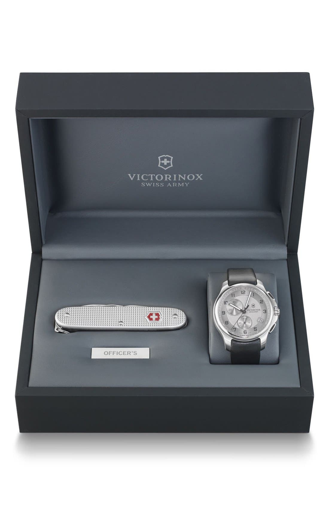 Main Image - Victorinox Swiss Army® 'Officer's' Leather Strap Watch with Knife, 40mm