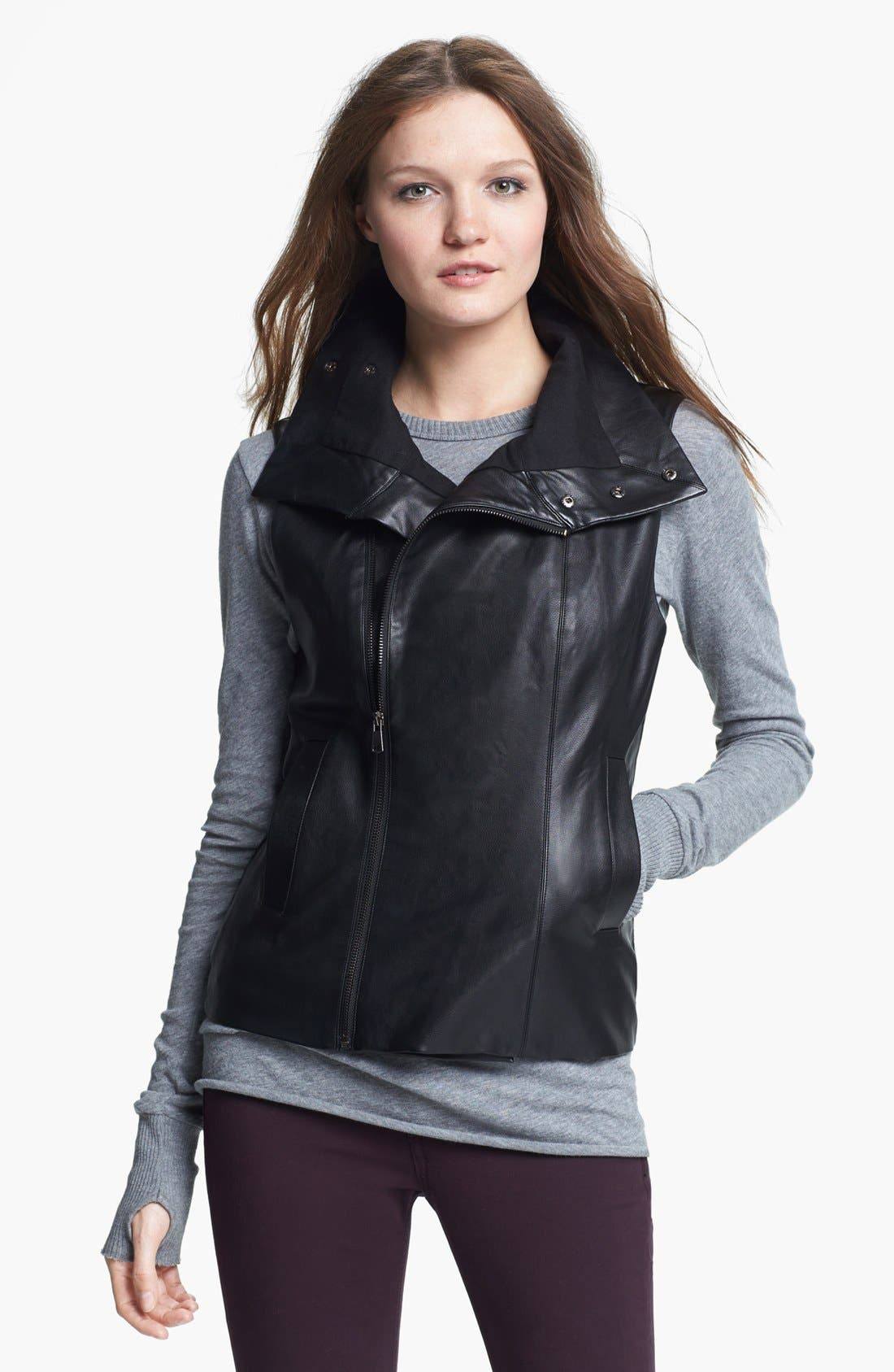Alternate Image 1 Selected - Echo Faux Leather Front Zip Vest