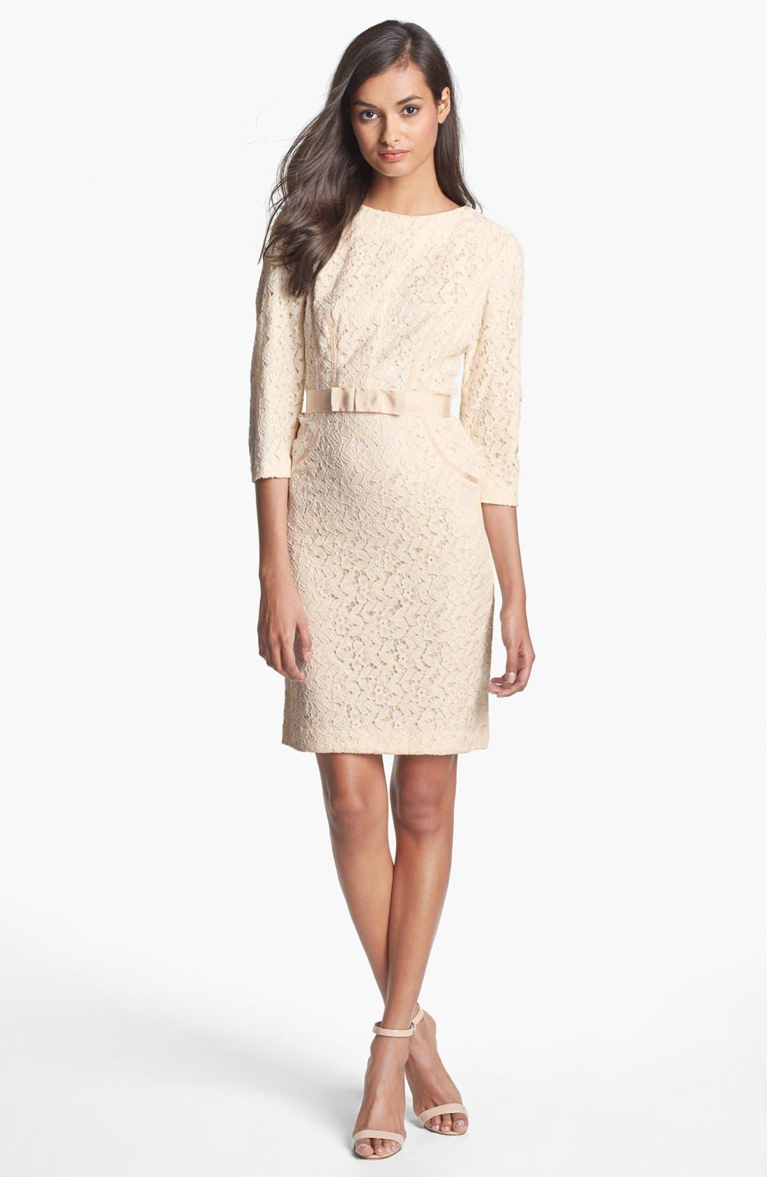 Alternate Image 1 Selected - Taylor Dresses Ribbon Trim Lace Sheath Dress
