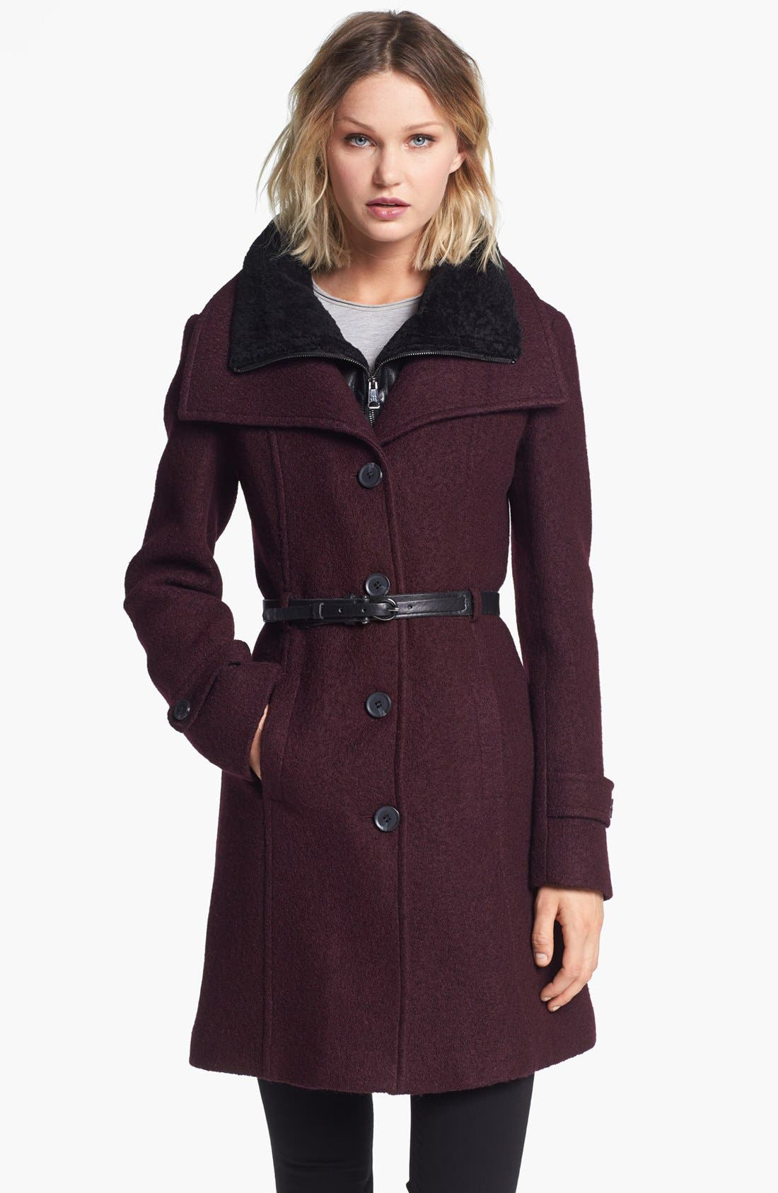 Main Image - Soia & Kyo Wing Collar Coat with Genuine Shearling Inset