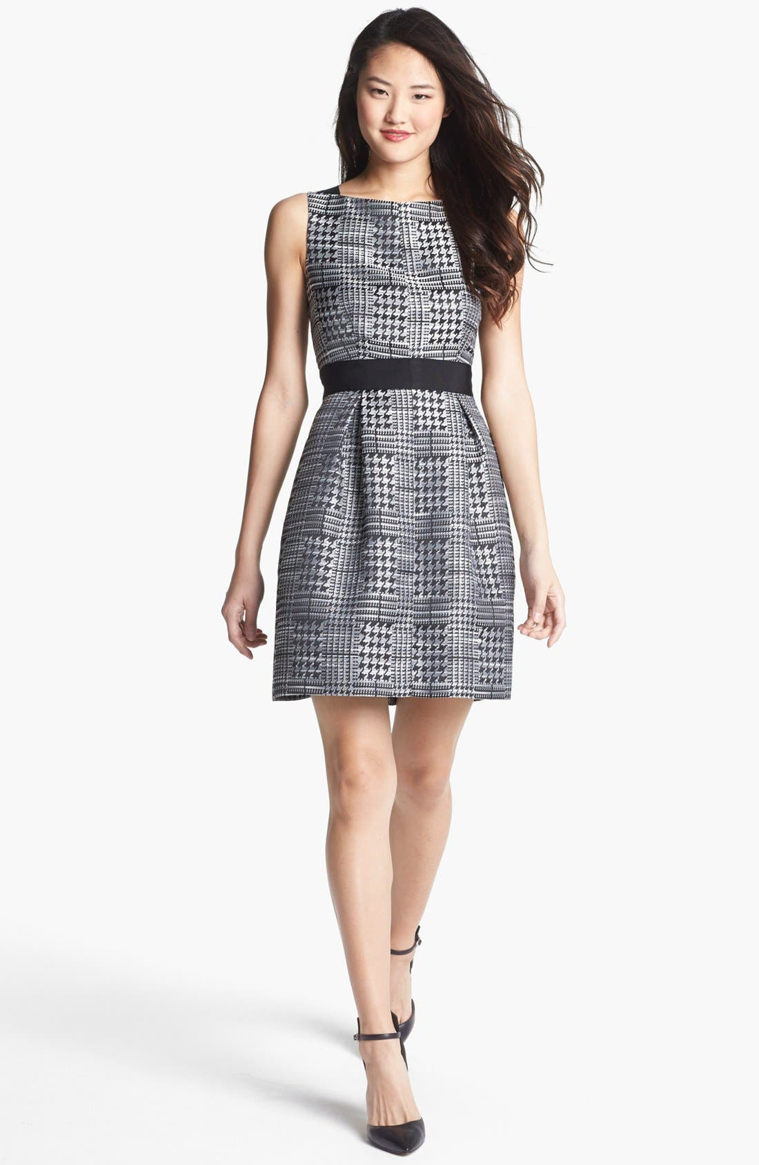 Main Image - Jessica Simpson Print Jacquard Fit & Flare Dress (Online Only)