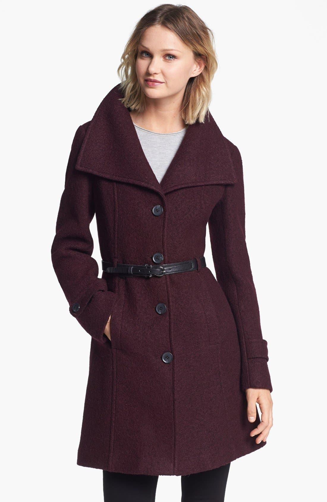 Alternate Image 3  - Soia & Kyo Wing Collar Coat with Genuine Shearling Inset