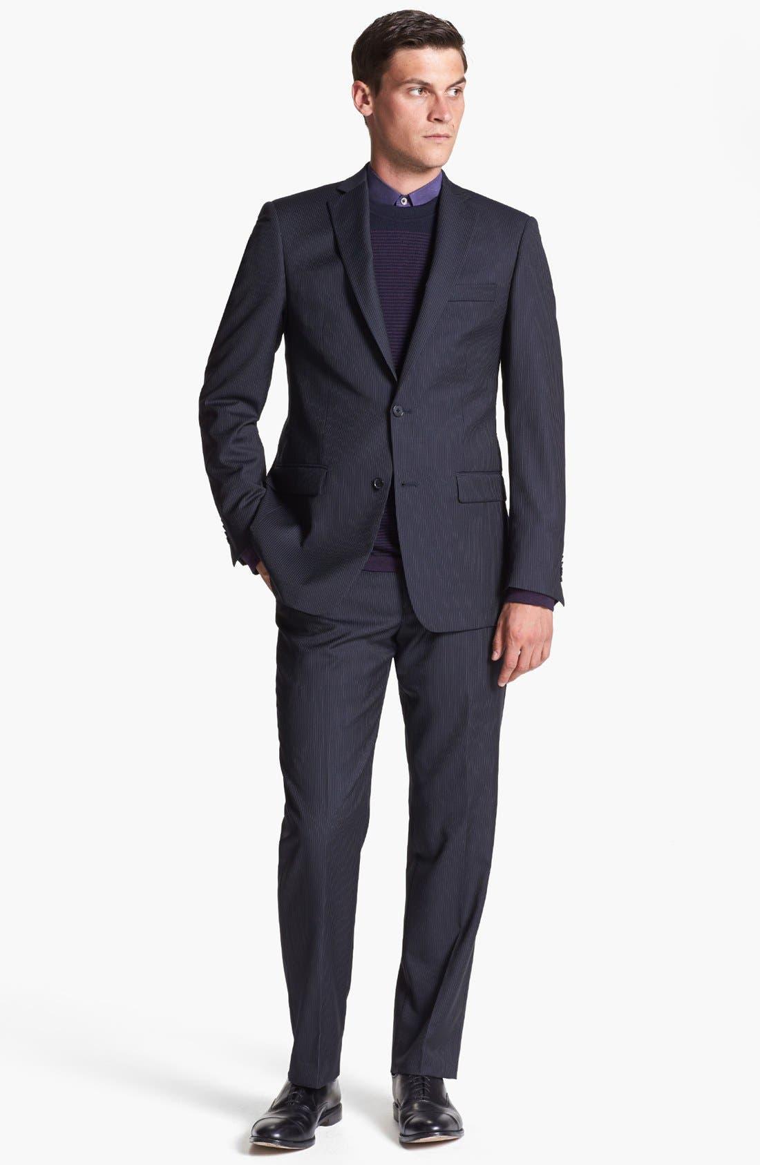 Main Image - Michael Kors Stripe Suit & Ted Baker London Sweater