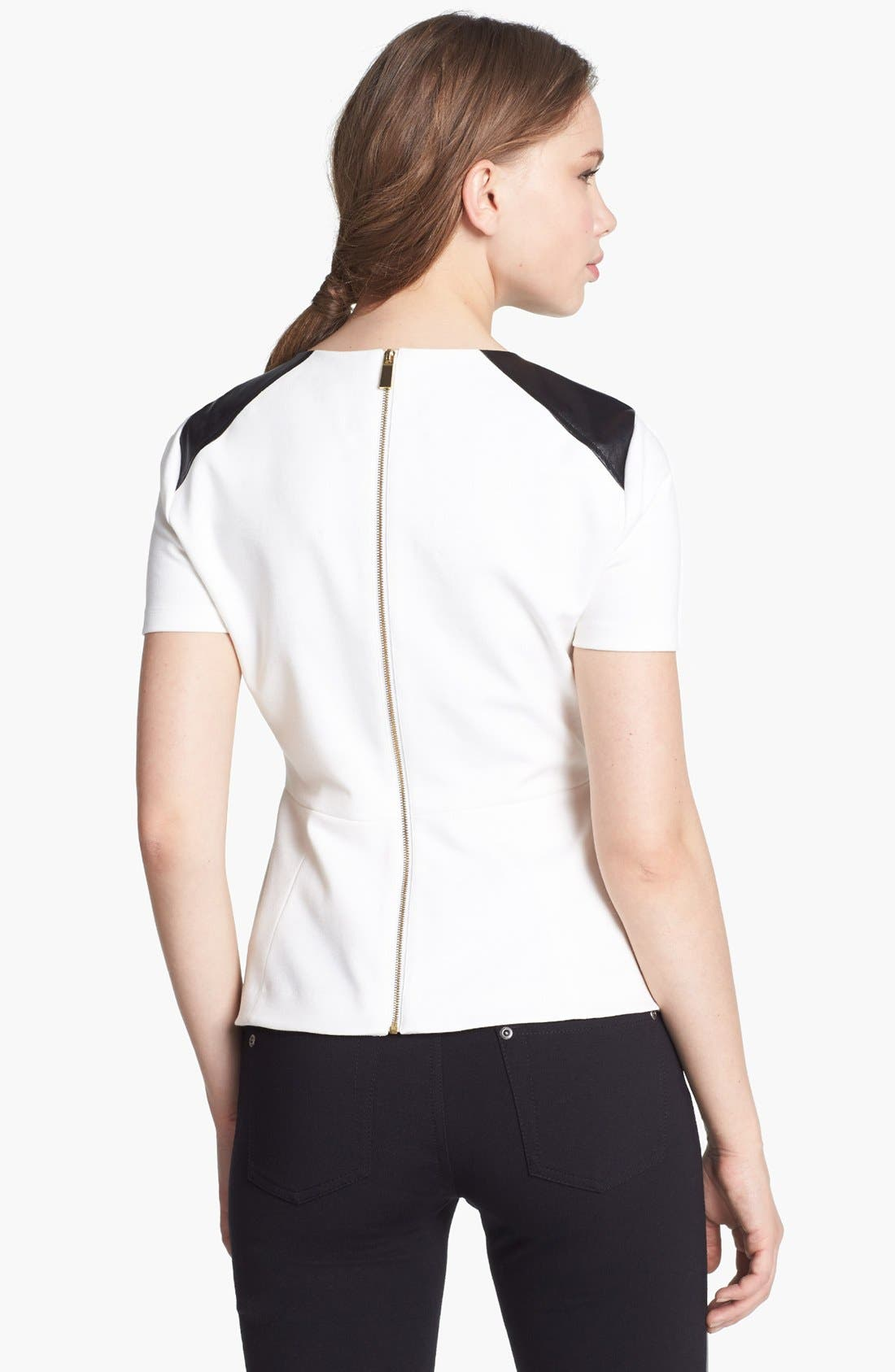 Alternate Image 2  - Vince Camuto Faux Leather Shoulders Peplum Top (Online Only)