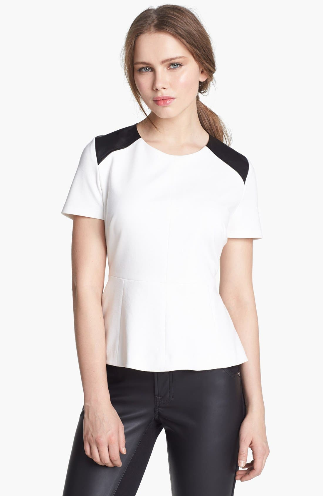 Alternate Image 1 Selected - Vince Camuto Faux Leather Shoulders Peplum Top (Online Only)