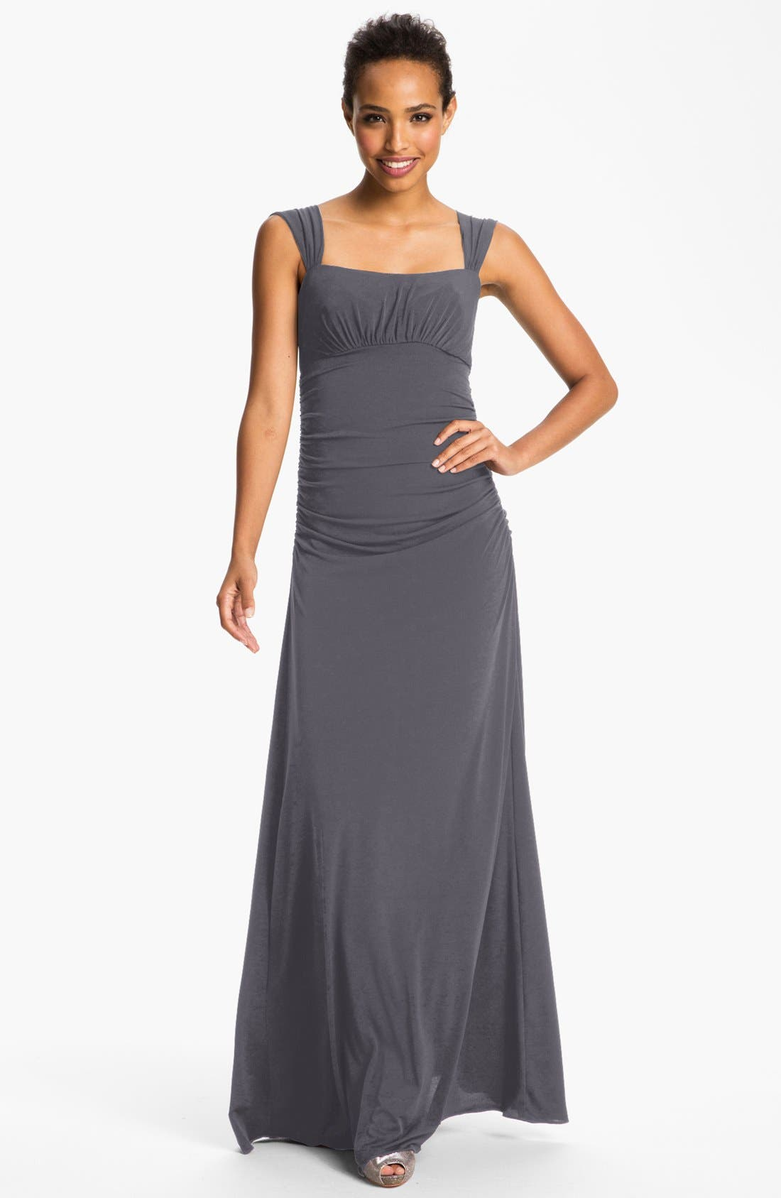 Alternate Image 1 Selected - Amsale Square Neck Ruched Jersey Gown