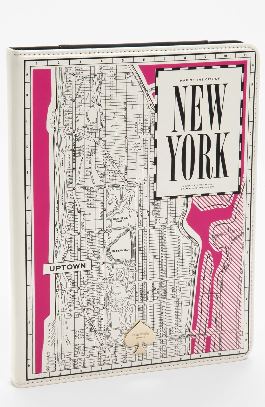 Main Image - kate spade new york 'new york map' iPad 2 & 3 folio