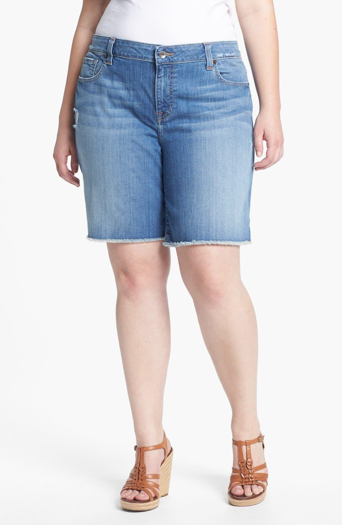 Main Image - Lucky Brand 'Ginger' Frayed Denim Shorts (Plus Size)