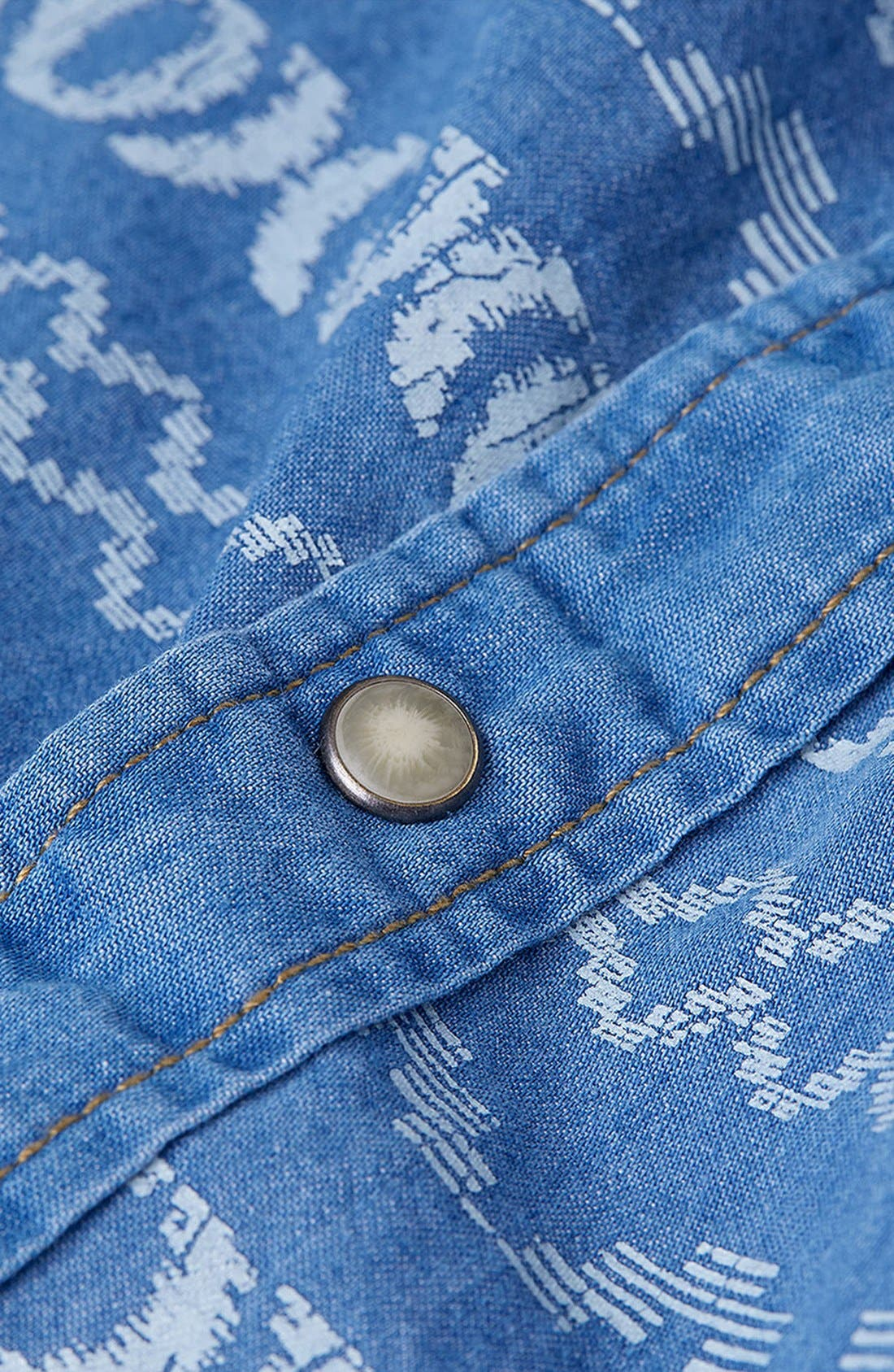 Alternate Image 3  - Topman Short Sleeve Pattern Print Denim Shirt