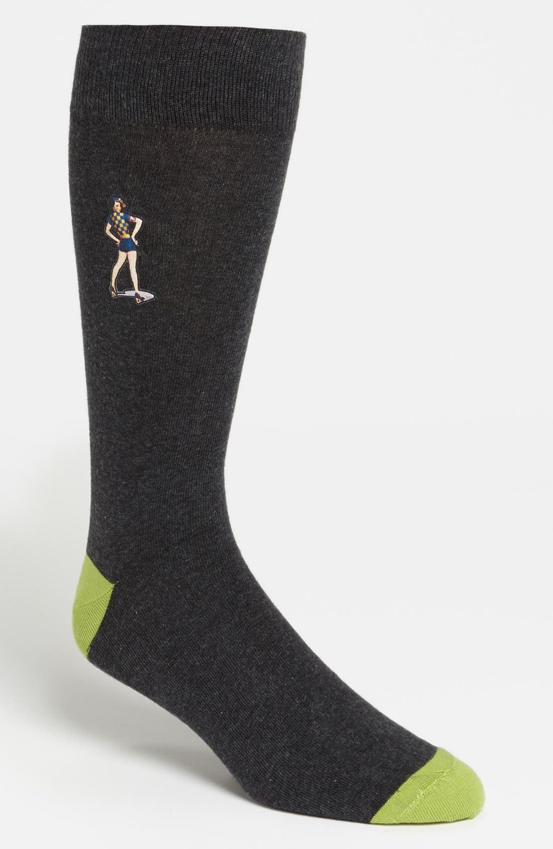 Alternate Image 1 Selected - Lorenzo Uomo 'Pinup Girl' Socks