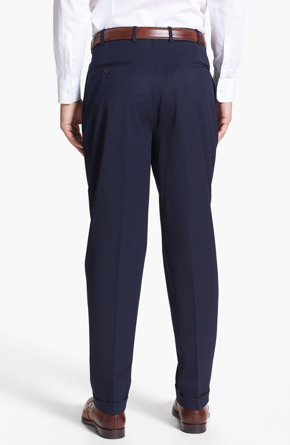 Pleated Super 100s Worsted Wool Trousers,                             Alternate thumbnail 2, color,                             Navy