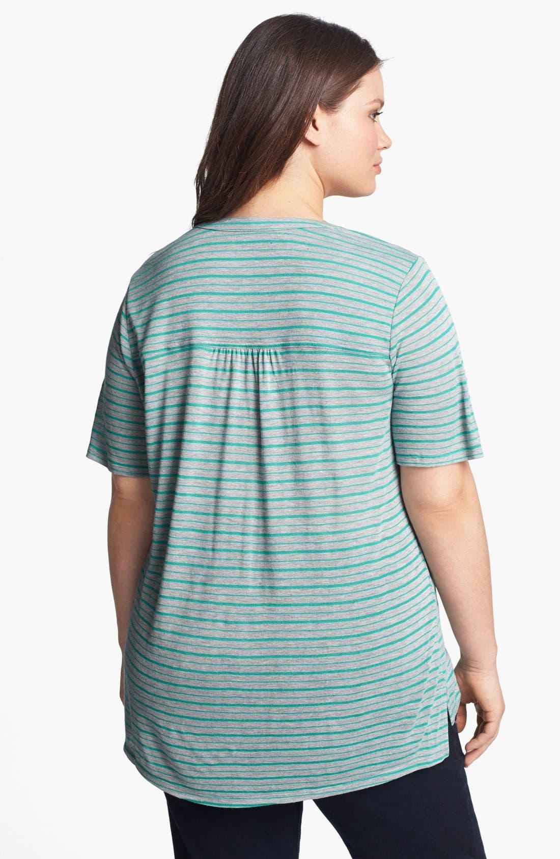 Alternate Image 2  - Sejour Stripe Henley Top (Plus Size)