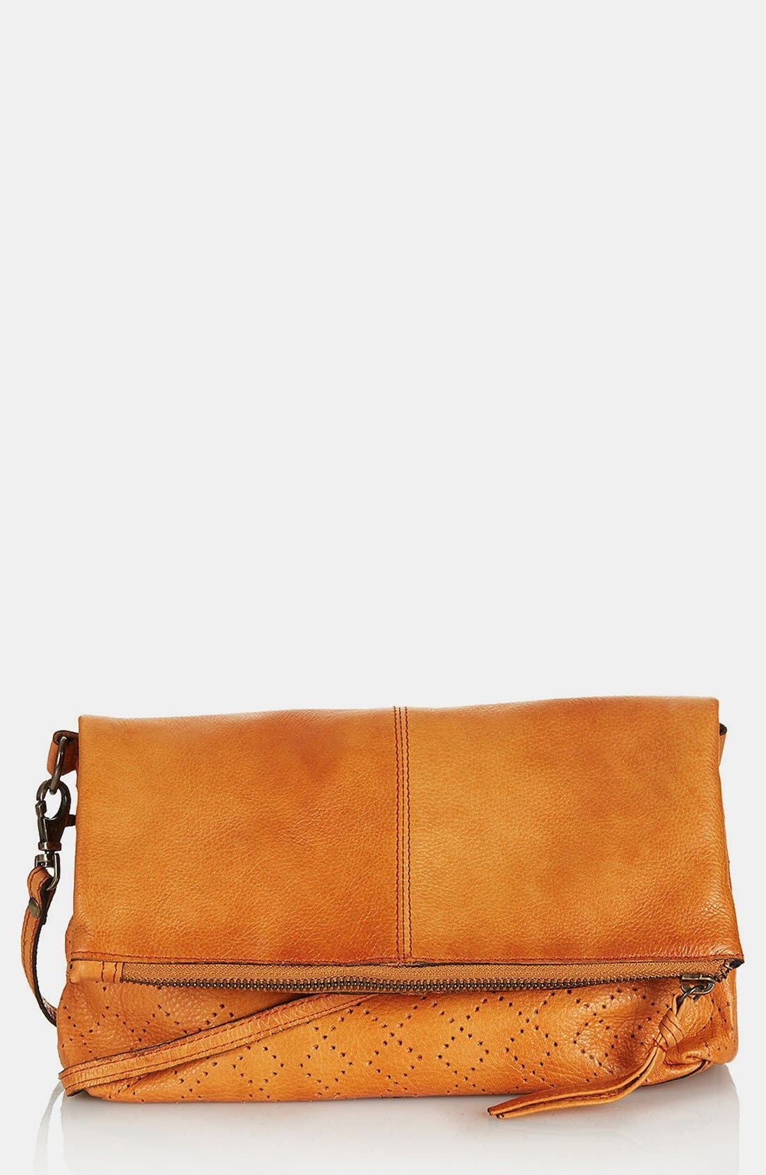 Alternate Image 1 Selected - Topshop 'New Perforated' Leather Crossbody Bag