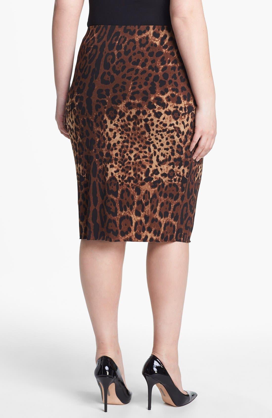 Alternate Image 2  - Vince Camuto Print Pencil Skirt (Plus Size)