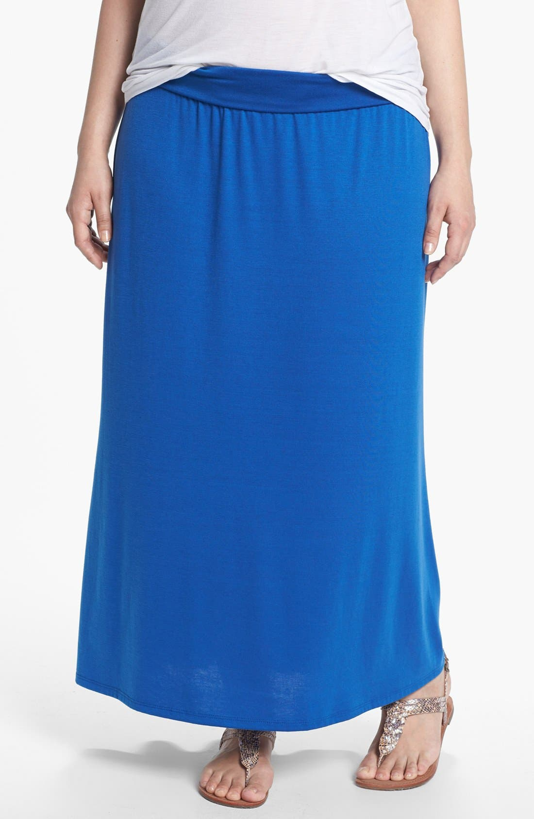 Main Image - Lily White Foldover Maxi Skirt (Juniors Plus)
