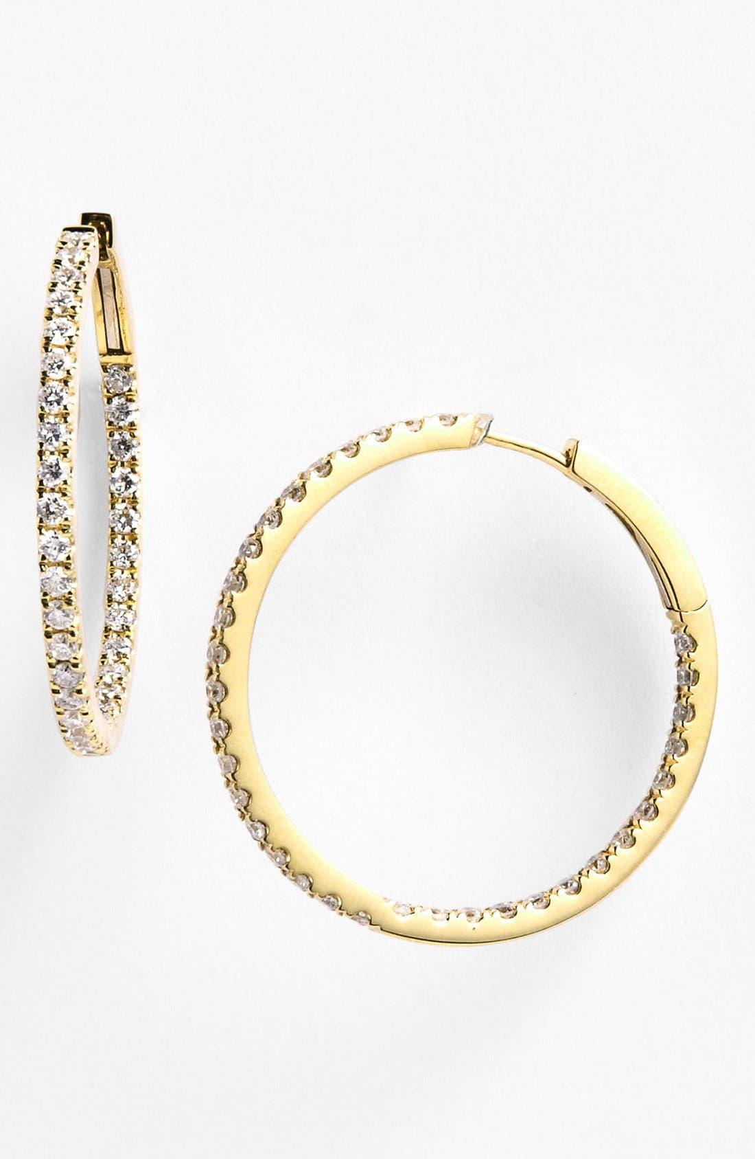 Main Image - Bony Levy Inside Out Diamond Hoop Earrings (Nordstrom Exclusive)