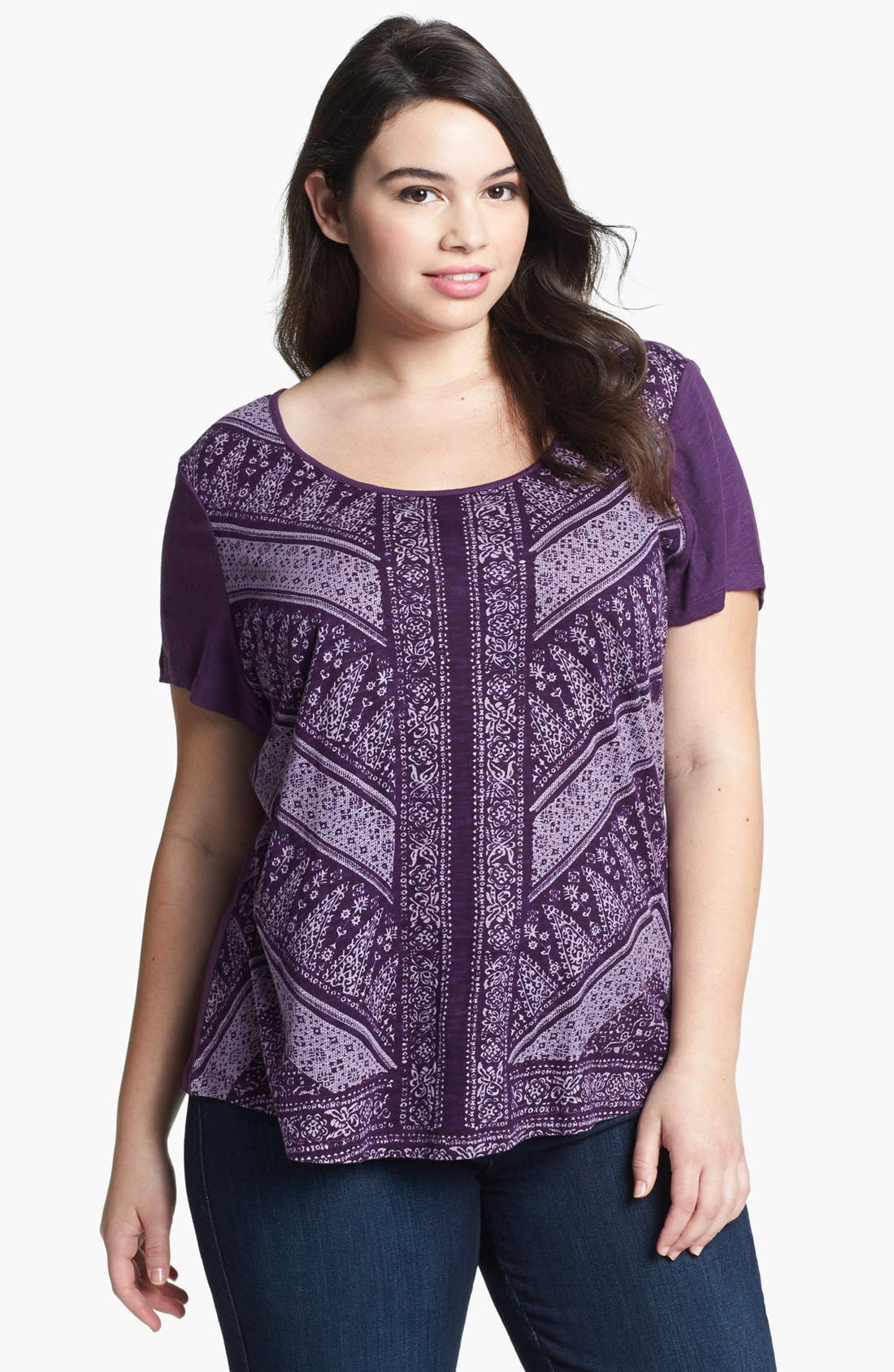 Alternate Image 1 Selected - Lucky Brand 'Dawn' Scarf Print Tee (Plus)