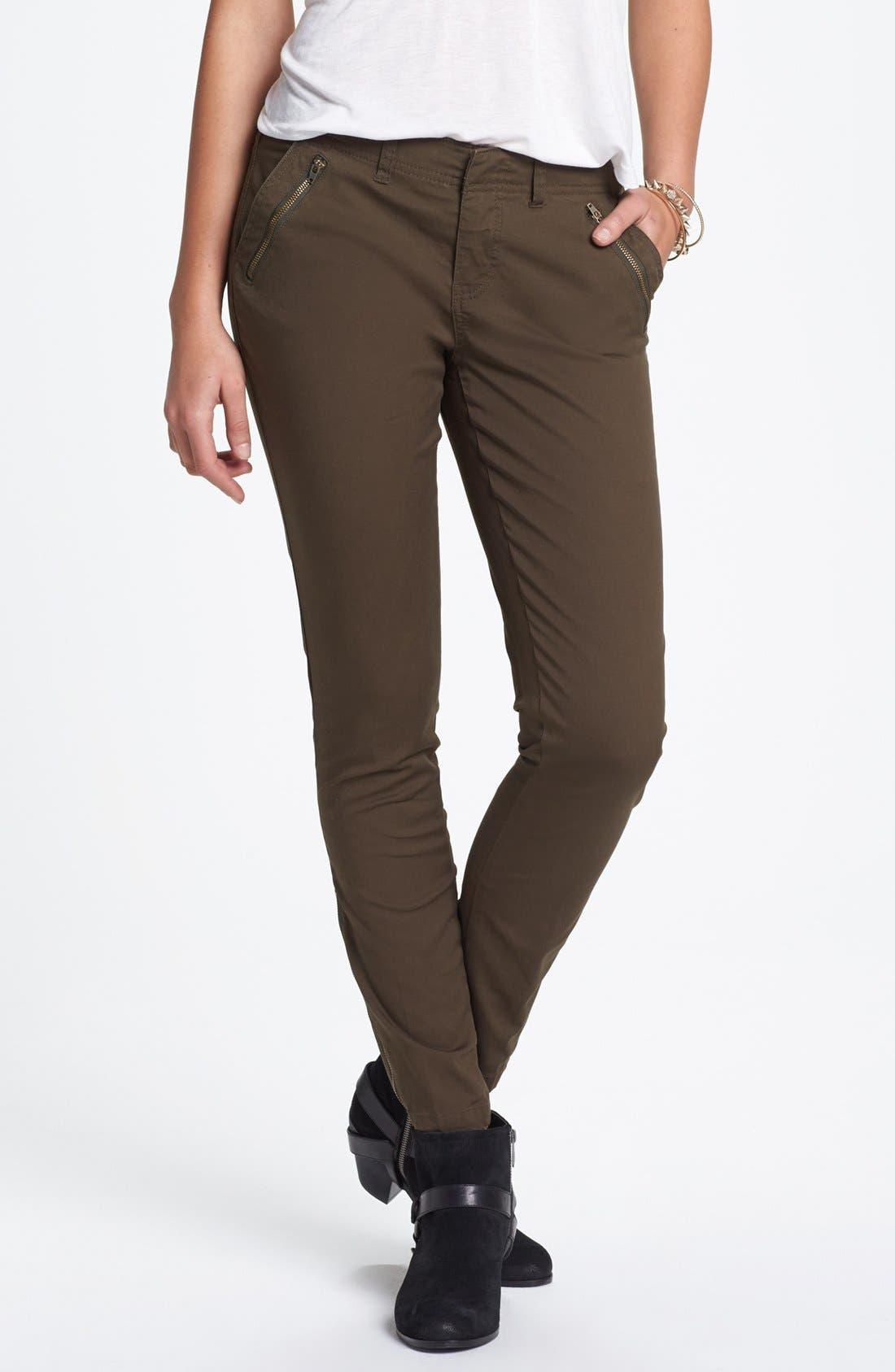 Alternate Image 1 Selected - Jolt Zipper Detail Twill Pants (Juniors)