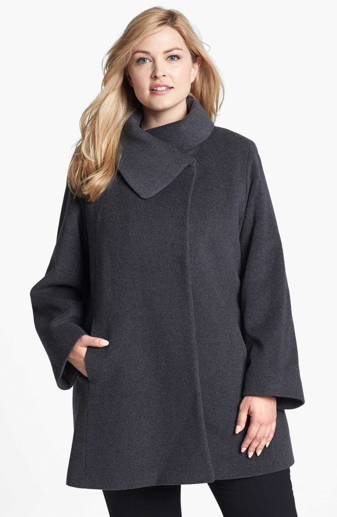 Main Image - Cinzia Rocca Due Portrait Collar Wool & Angora Blend Walking Coat (Plus Size)