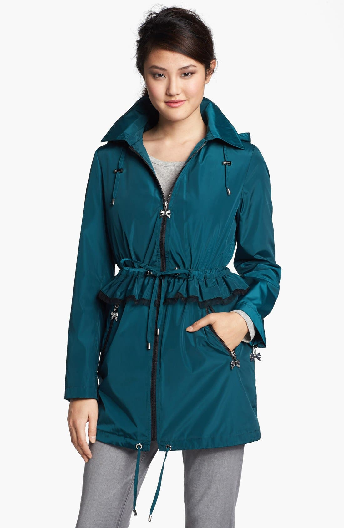 Alternate Image 1 Selected - Betsey Johnson Ruffle Anorak with Detachable Hood (Online Only)