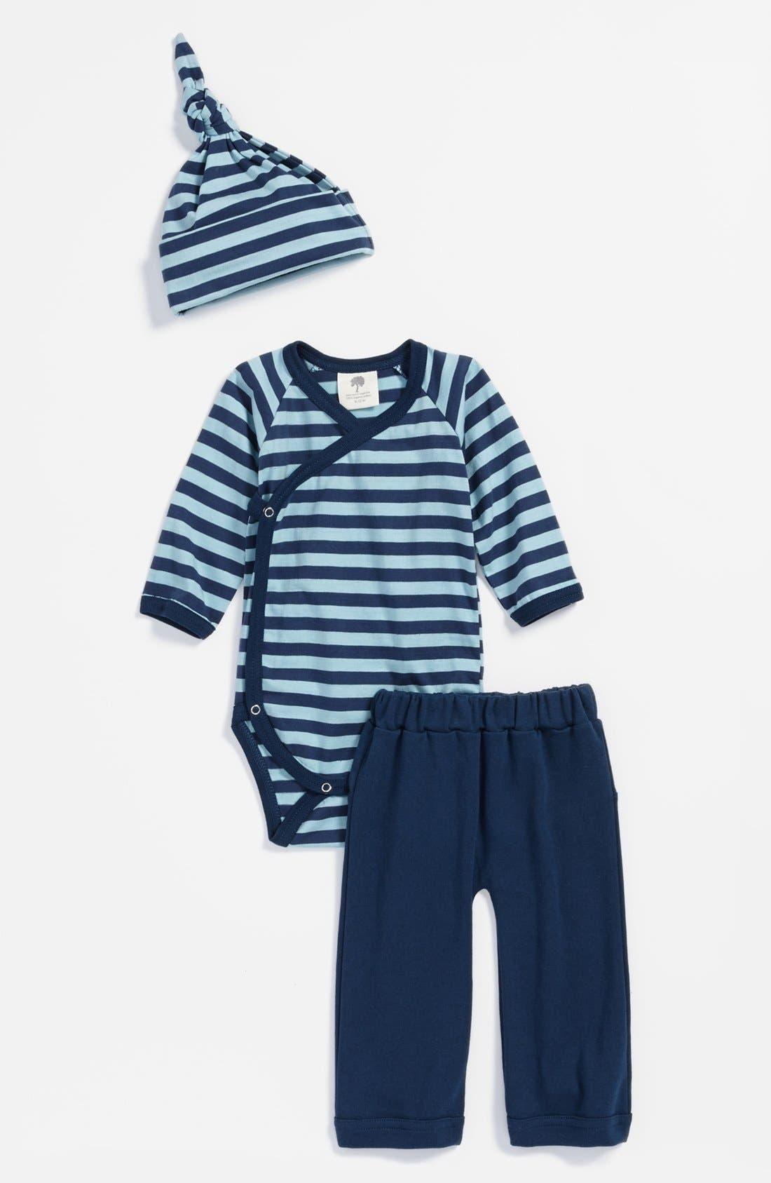 Main Image - Kate Quinn Organics 'Play' Bodysuit, Pants & Hat Set (Baby Boys)
