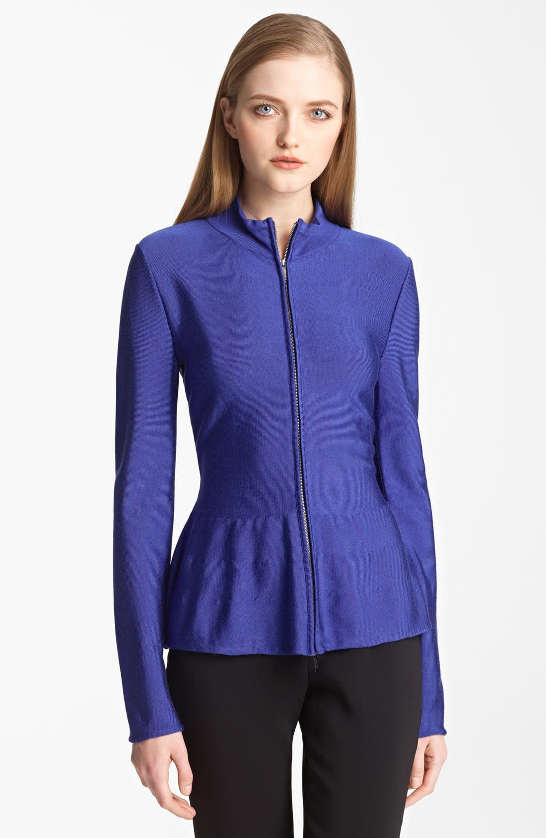 Zip Front Knit Jacket,                             Main thumbnail 1, color,                             Cobalt