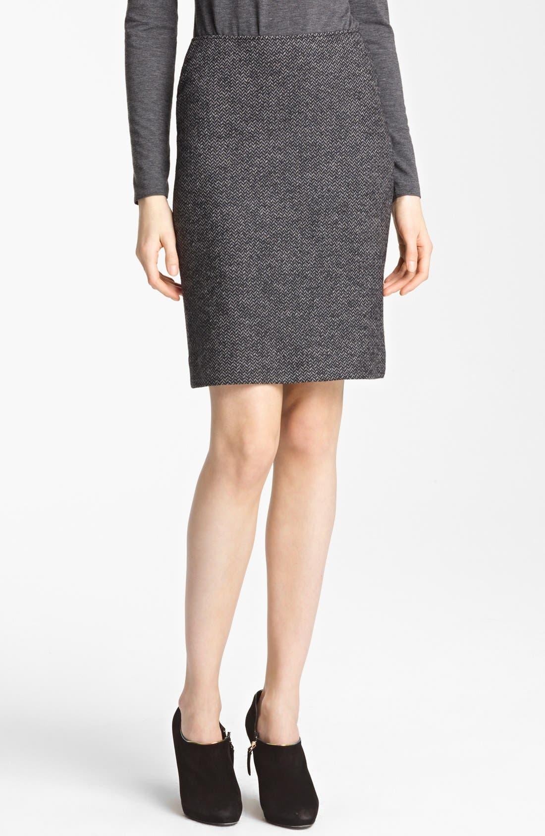 Main Image - Armani Collezioni Herringbone Jersey Skirt