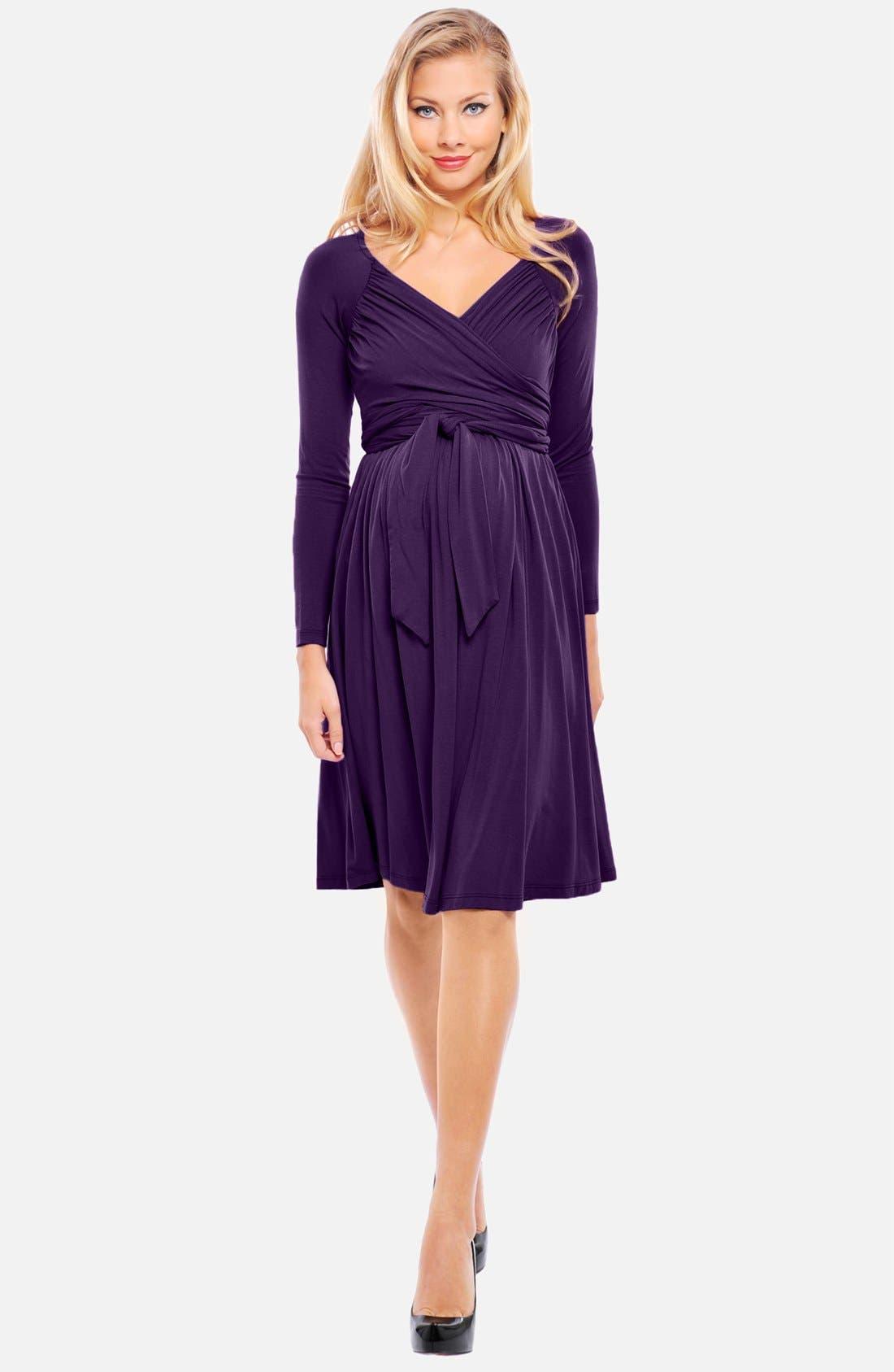 Main Image - Olian 'Lucy' Draped Stretch Knit Maternity Dress
