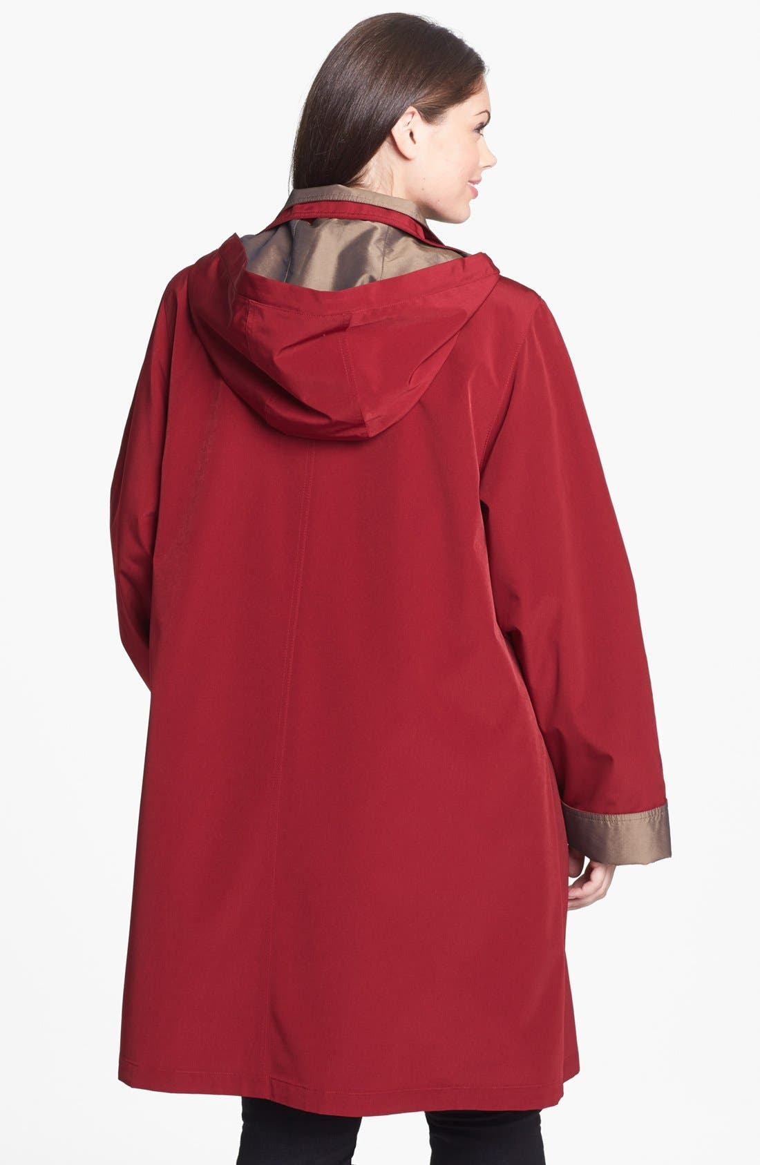 Alternate Image 2  - Gallery A-Line Coat with Detachable Hood & Liner (Plus Size)