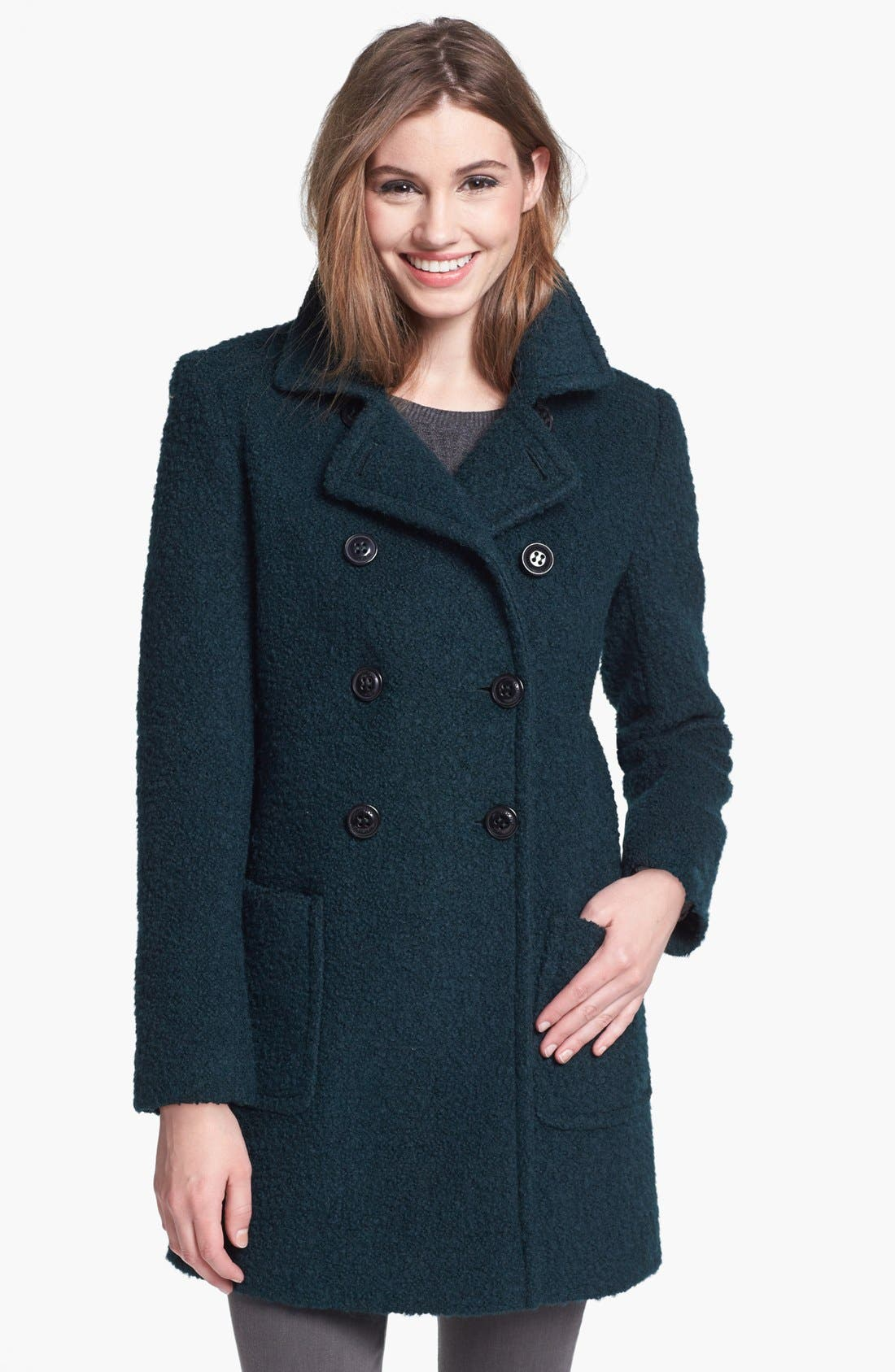 Alternate Image 1 Selected - DKNY Double Breasted Bouclé Coat (Regular & Petite)