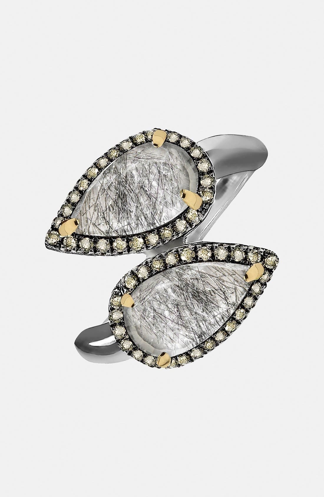 Alternate Image 1 Selected - Whitney Stern Quartz & Canary Diamond Wrap Ring