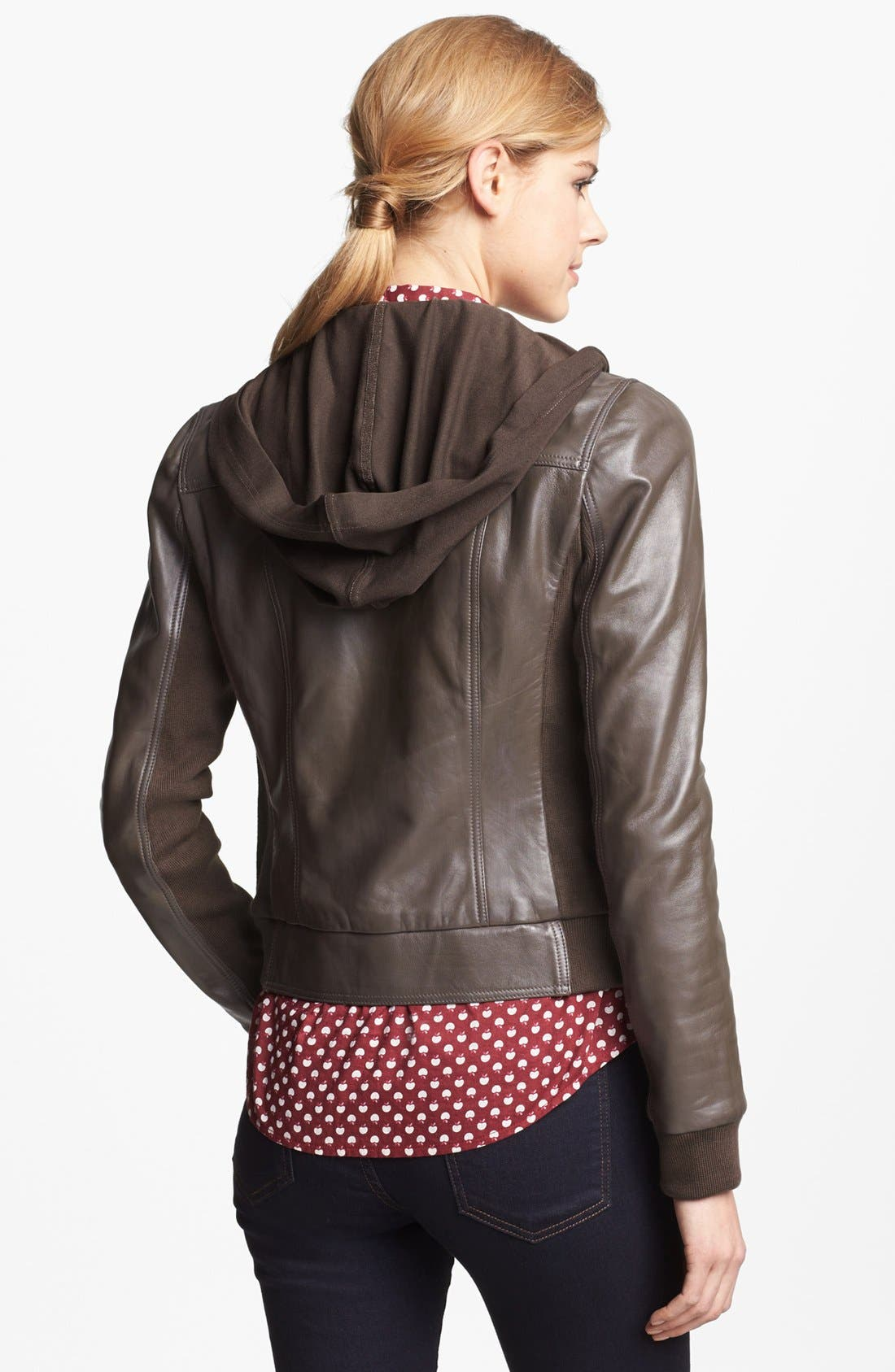 Hooded Leather Jacket,                             Alternate thumbnail 3, color,                             Brown Iron