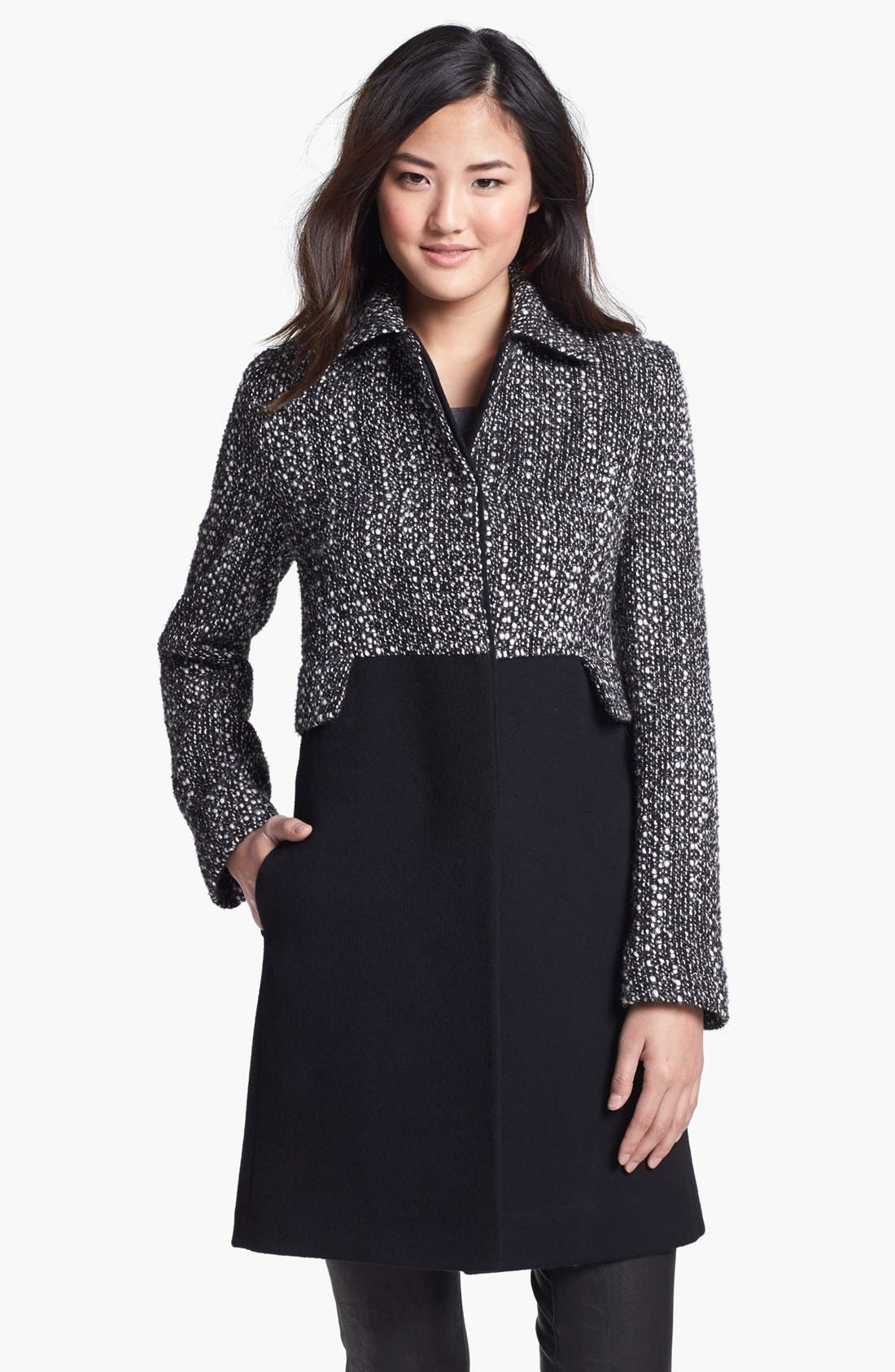 Alternate Image 1 Selected - Fleurette Thistle Tweed & Loro Piana Wool City Coat (Petite)