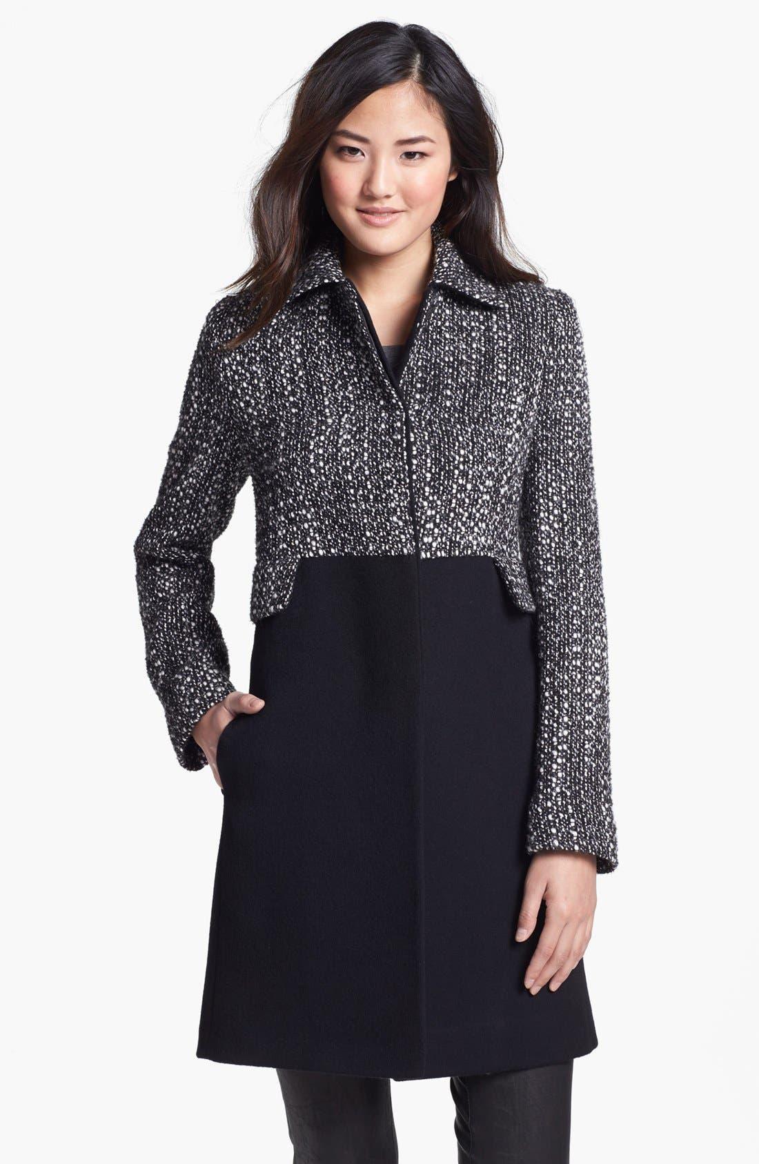 Main Image - Fleurette Thistle Tweed & Loro Piana Wool City Coat (Petite)