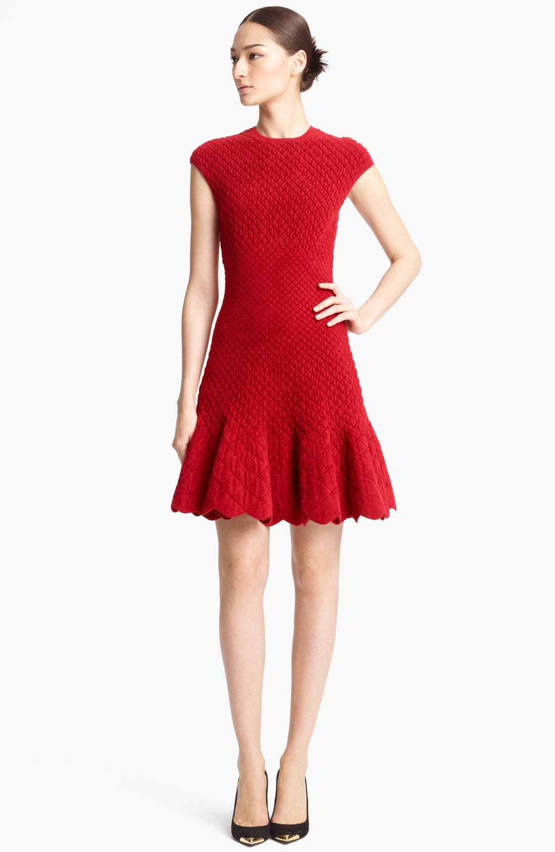 Quilted Jacquard Knit Dress,                         Main,                         color, Ruby Red